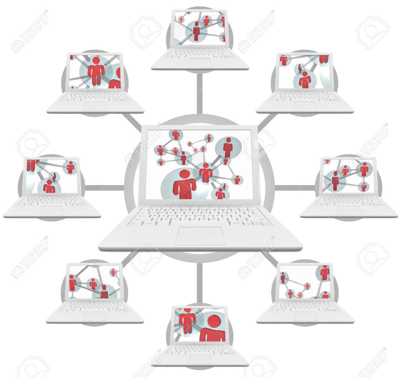 Illustration of connected laptop computers linked through social networks Stock Illustration - 5921127