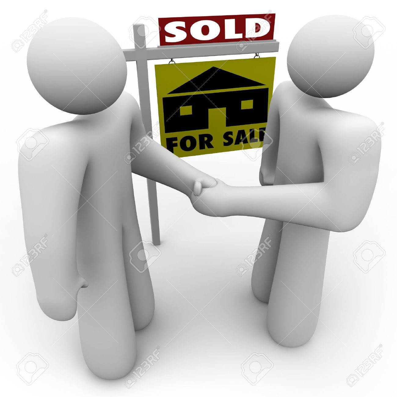 A home buyer and seller shake hands in front of a for sale sign that is marked Sold. Stock Photo - 5994475