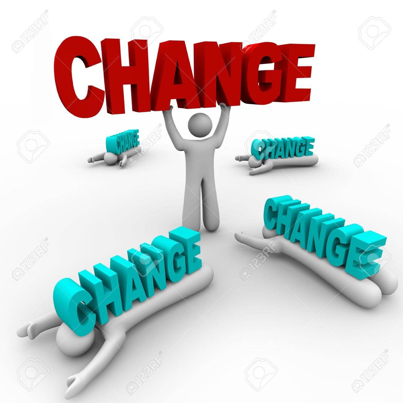 One Person Stands Holding The Word Change, Having Embraced It, While ...