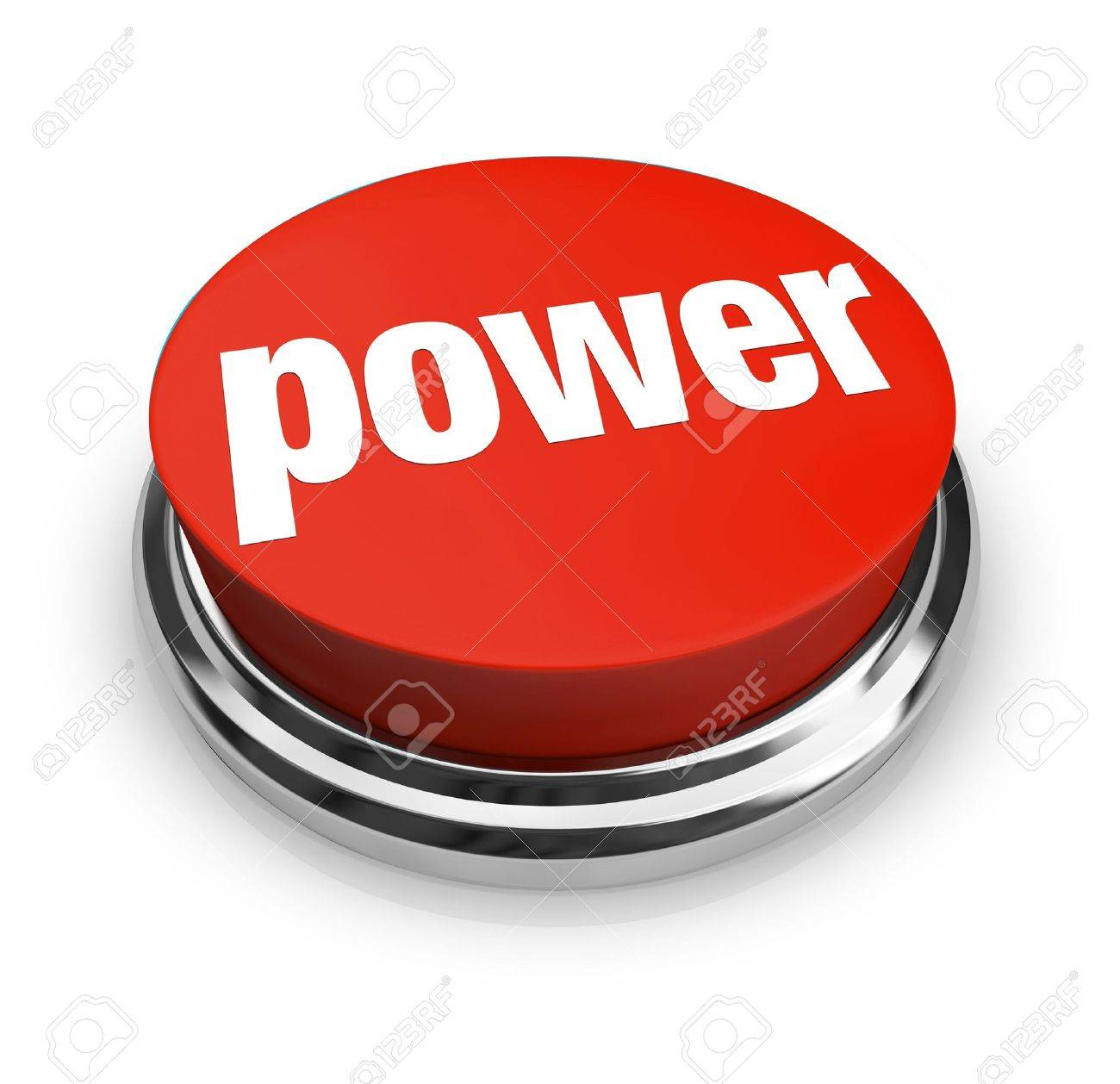 A red button with the word Power on it Stock Photo - 6072961