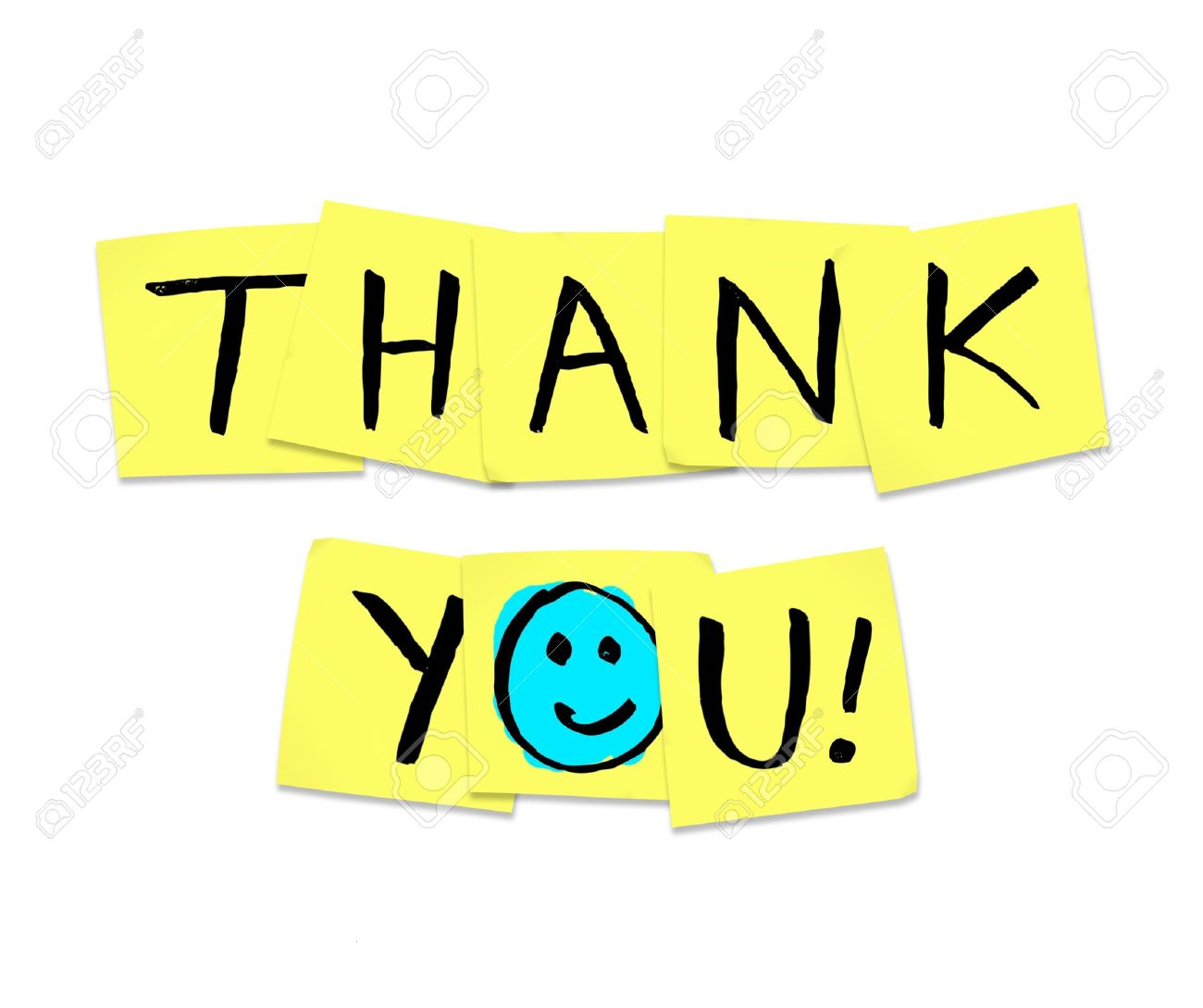 the words thank you written on yellow sticky notes stock photo