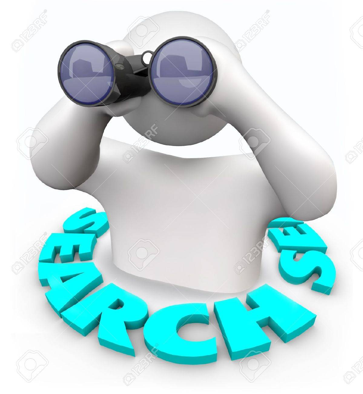 A man with binoculars surrounded by the word Search Stock Photo - 6107488