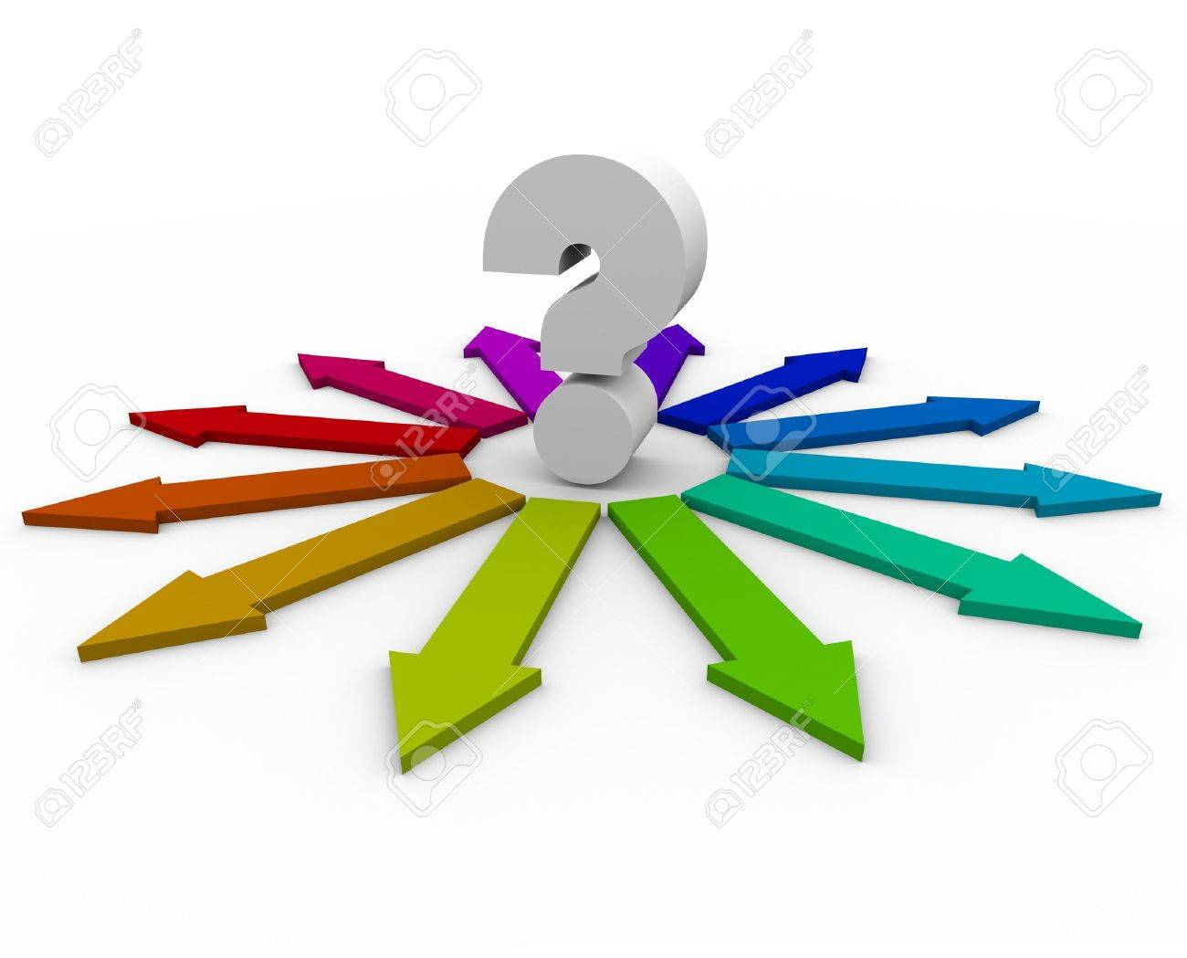 A question mark at the center of many colorful arrows representing different answers - 6231365