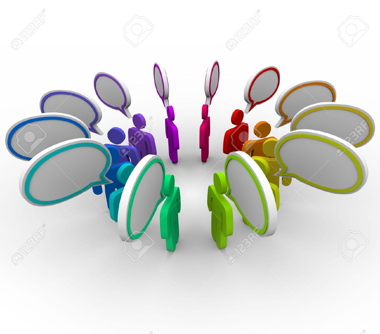 A network of people stand in a circle sharing information in speech bubbles Stock Photo - 6331018