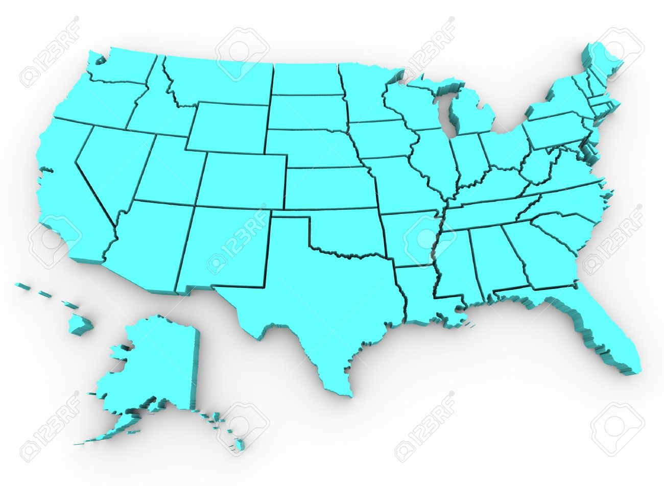 A Blue D Rendering Of A United States Map Stock Photo Picture Ohio On Usa