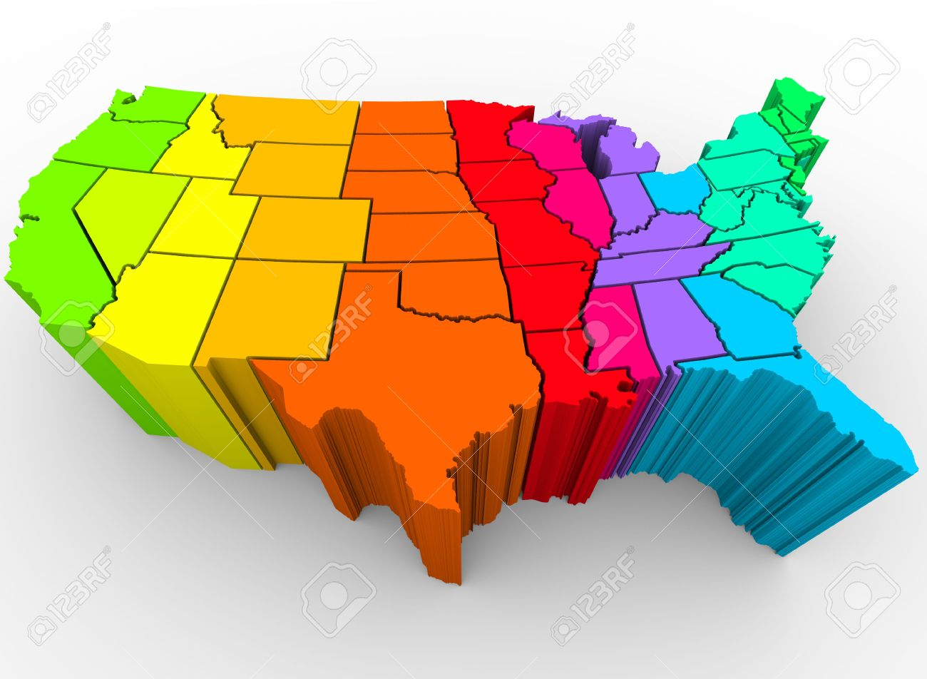 A Map Of The United States In A Rainbow Of Colors Symbolizing - A map of the united states