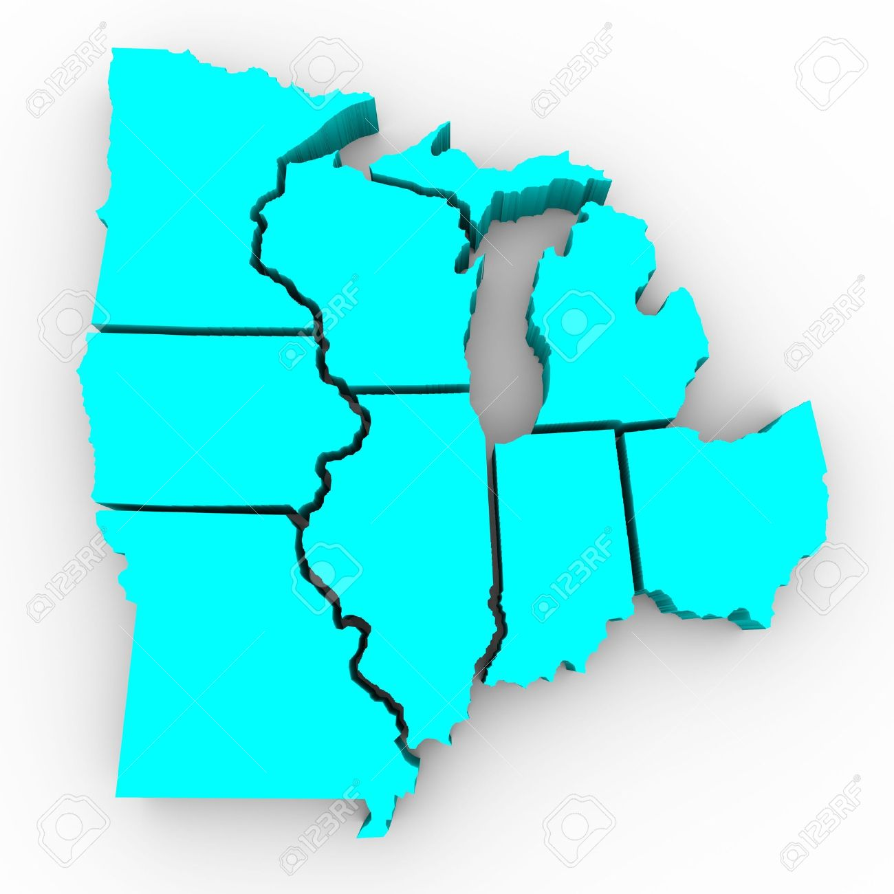 A 3d Map Of The Great Lakes Region Of States Michigan Ohio