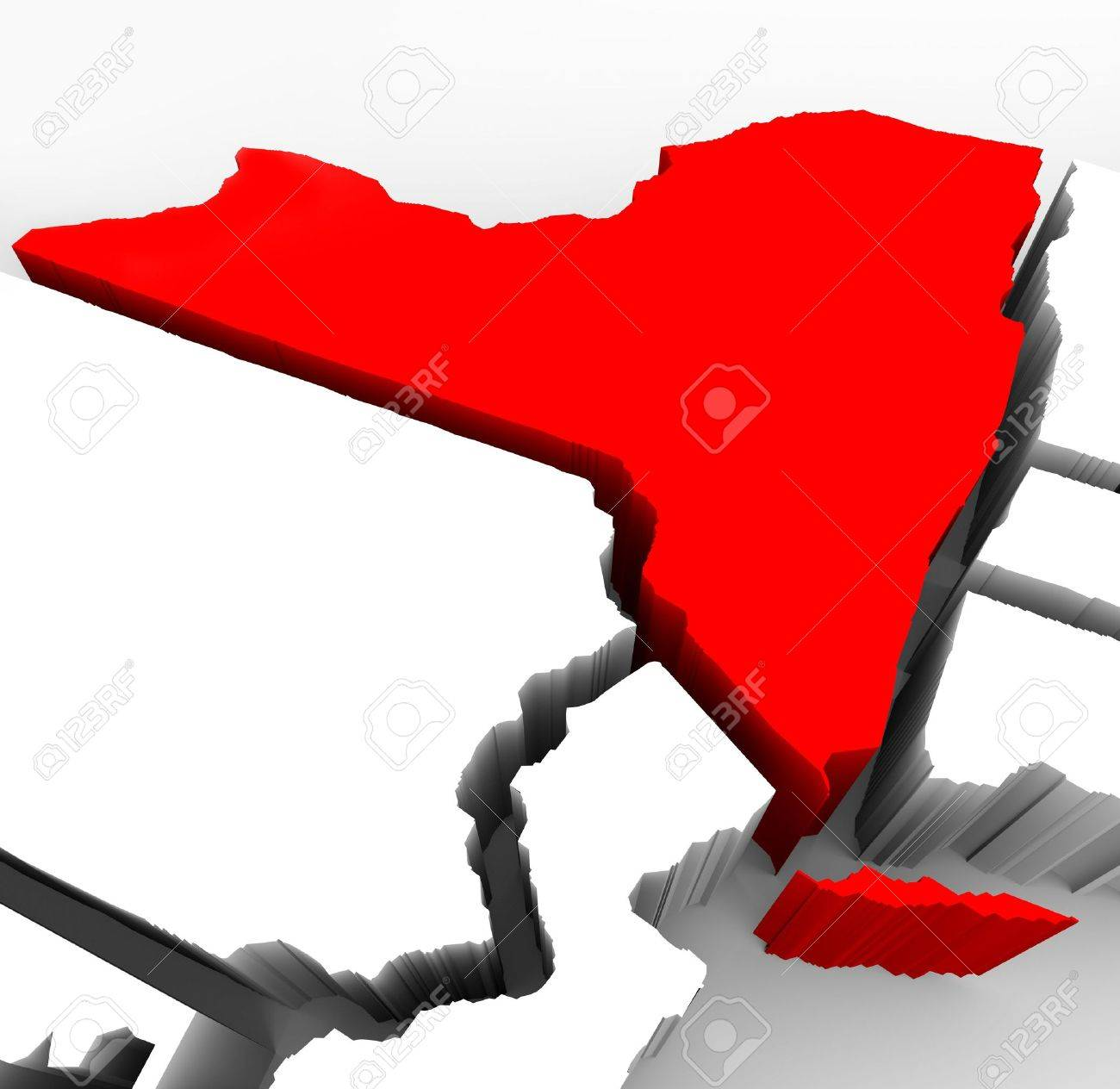 A D Render Of An Abstract Map Of New York State Stock Photo - New york map in 3d