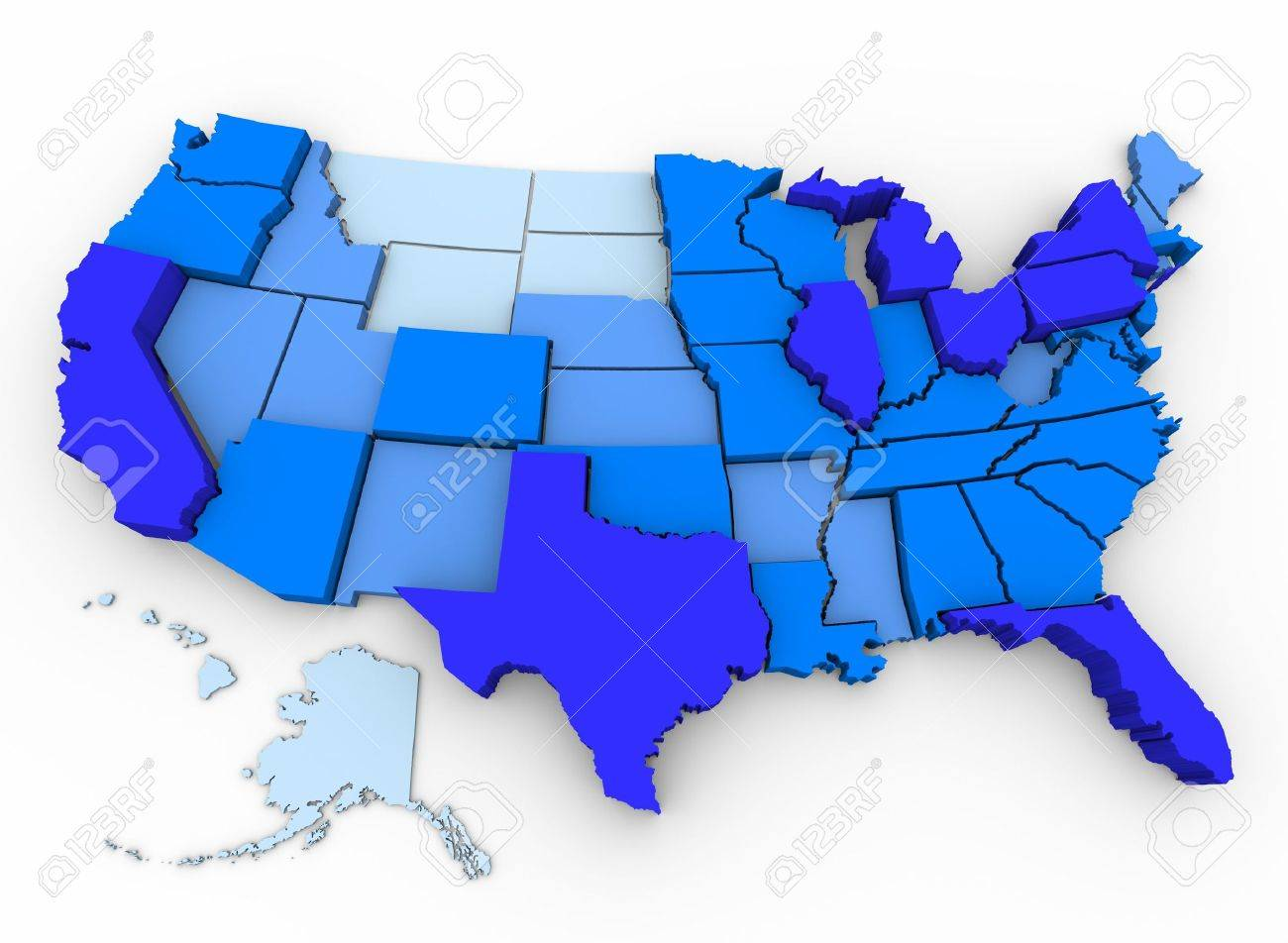 3d Map Of Us.A 3d Map Of The United States With The Most Populated States