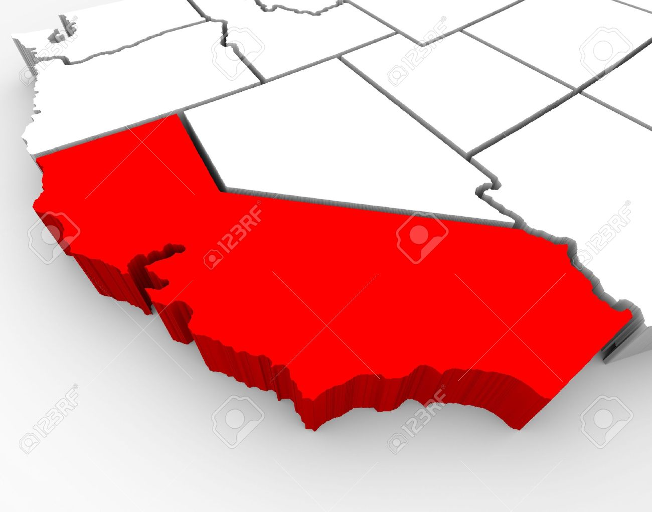 A D Rendered Map Of The State Of California Stock Photo Picture - State of ca map