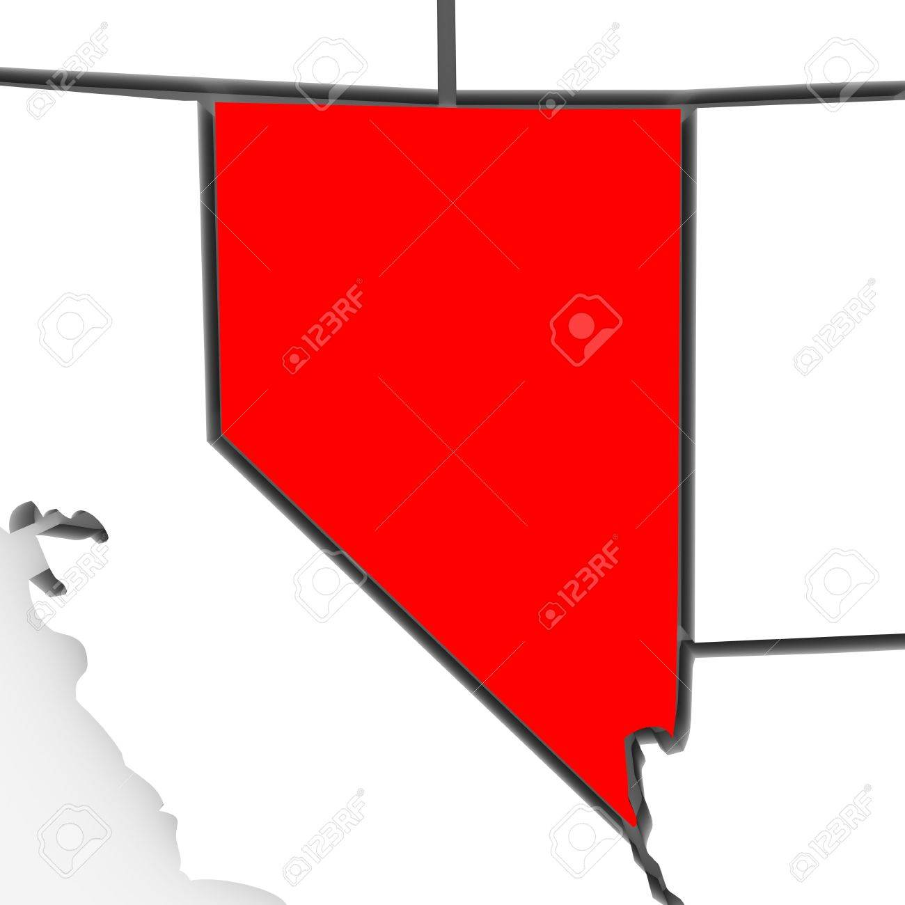 A 3d rendered map of the state of Nevada Stock Photo - 6560332