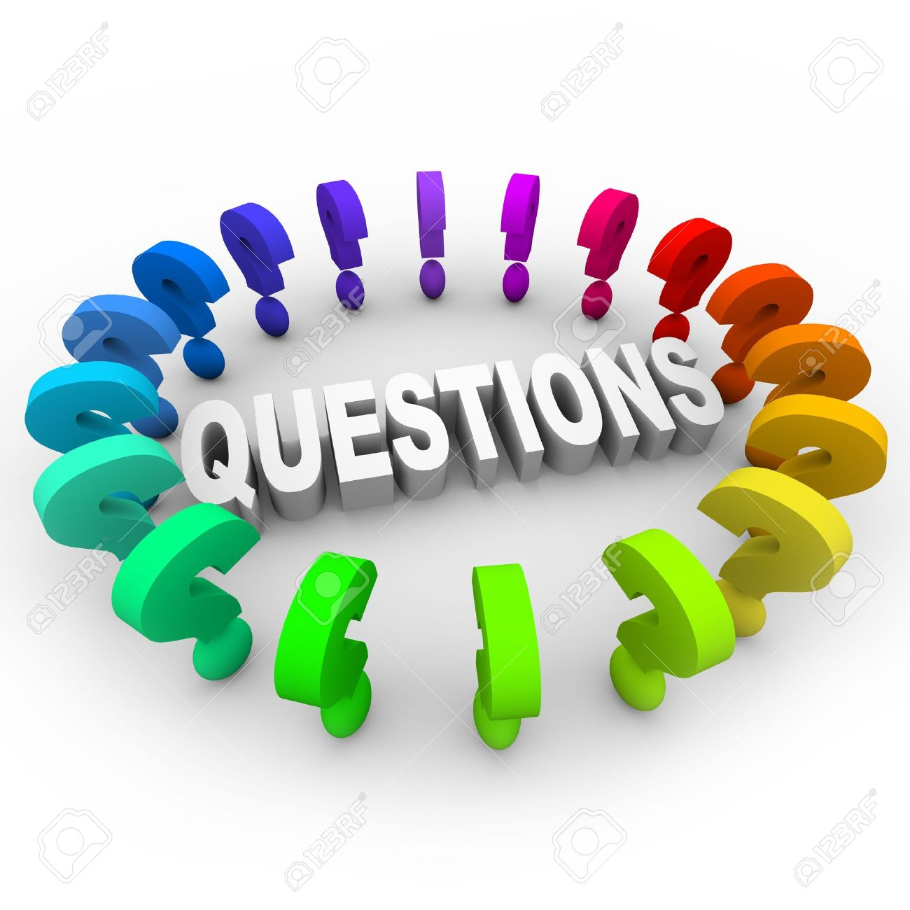 Many colorful question marks around the word Stock Photo - 7155118