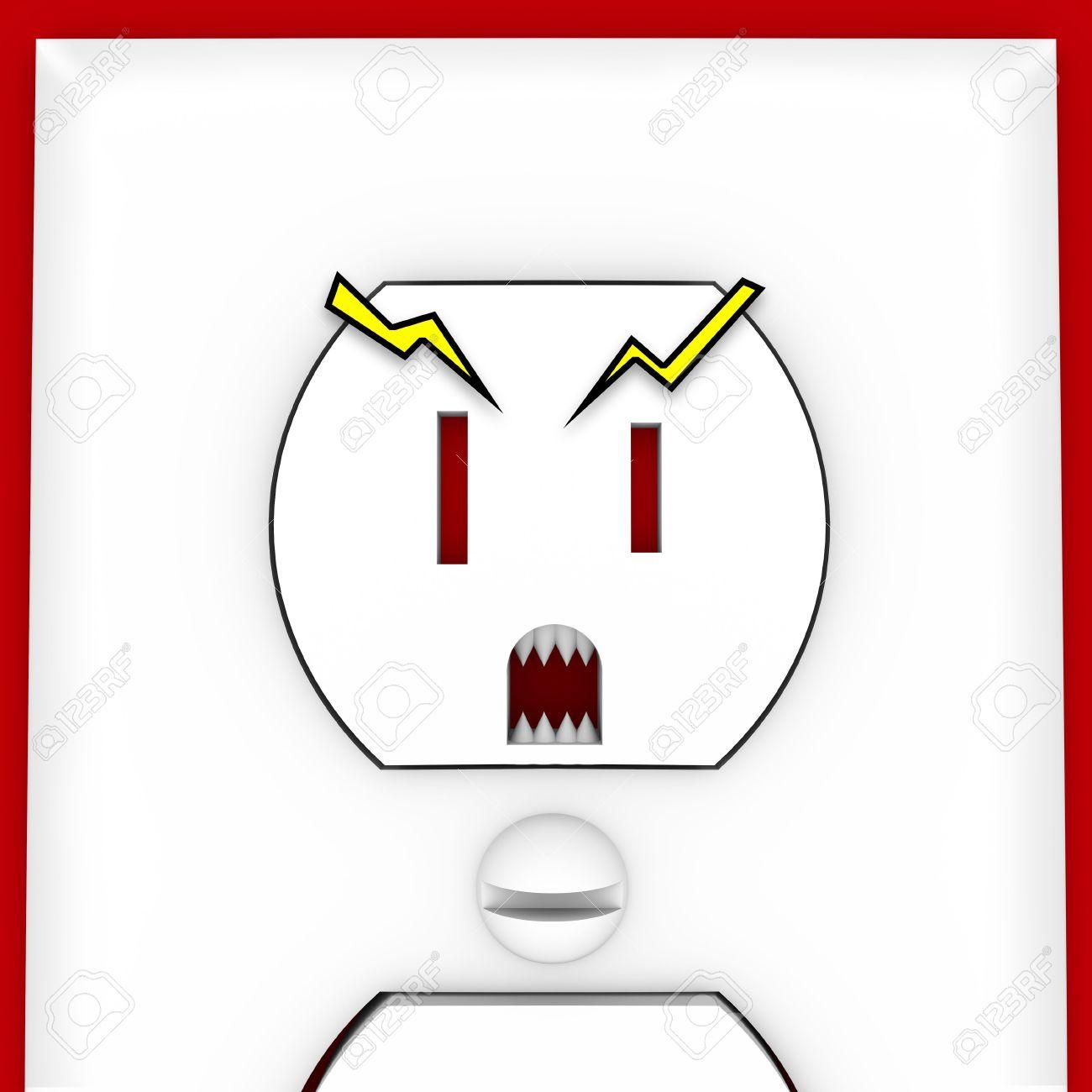 Eine Steckdose Mit Scary Augen Mund Und Zähne Lizenzfreie Fotos