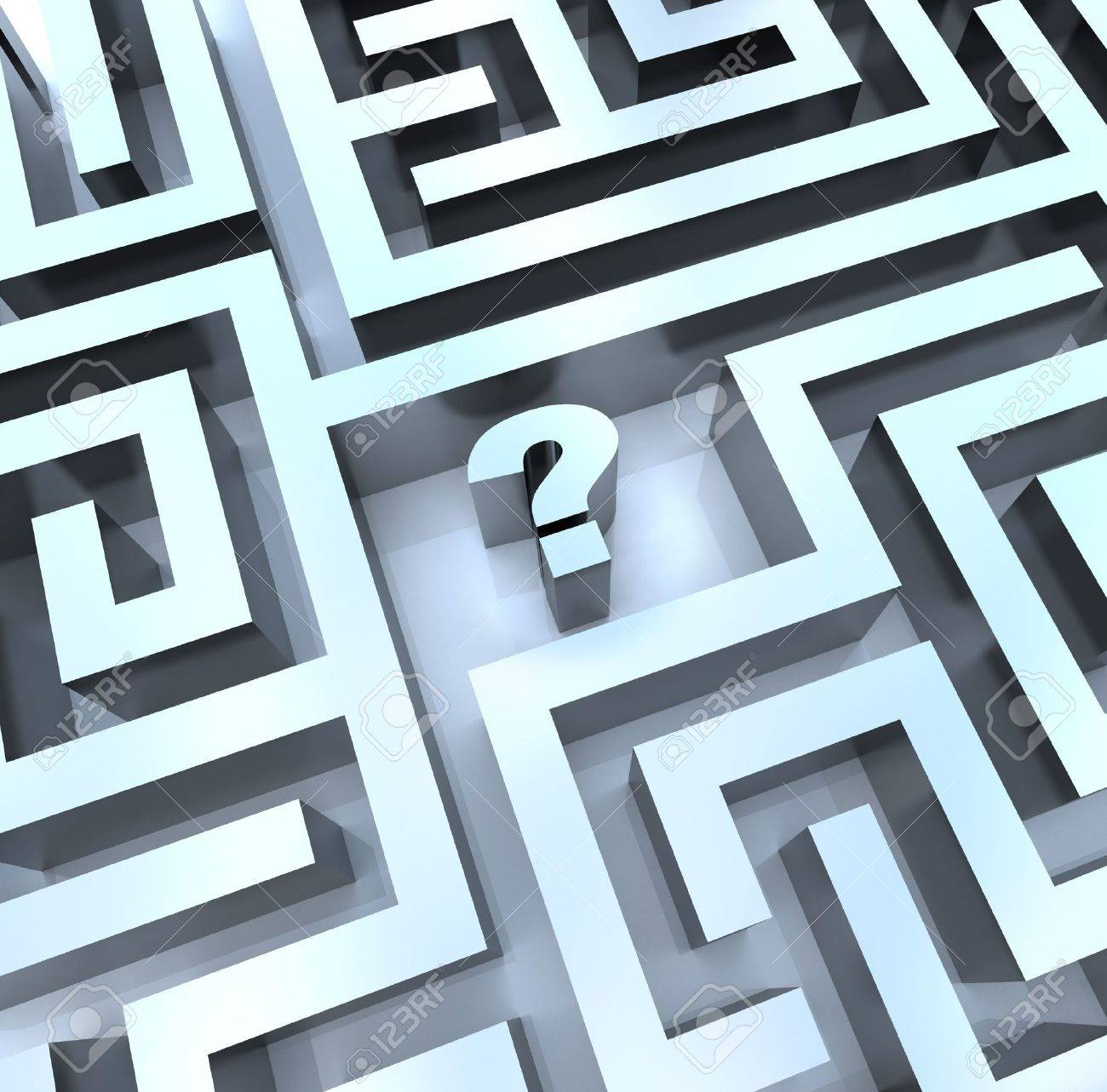 A question mark in the middle of a maze, symbolizing the need to search for an answer Stock Photo - 7383665