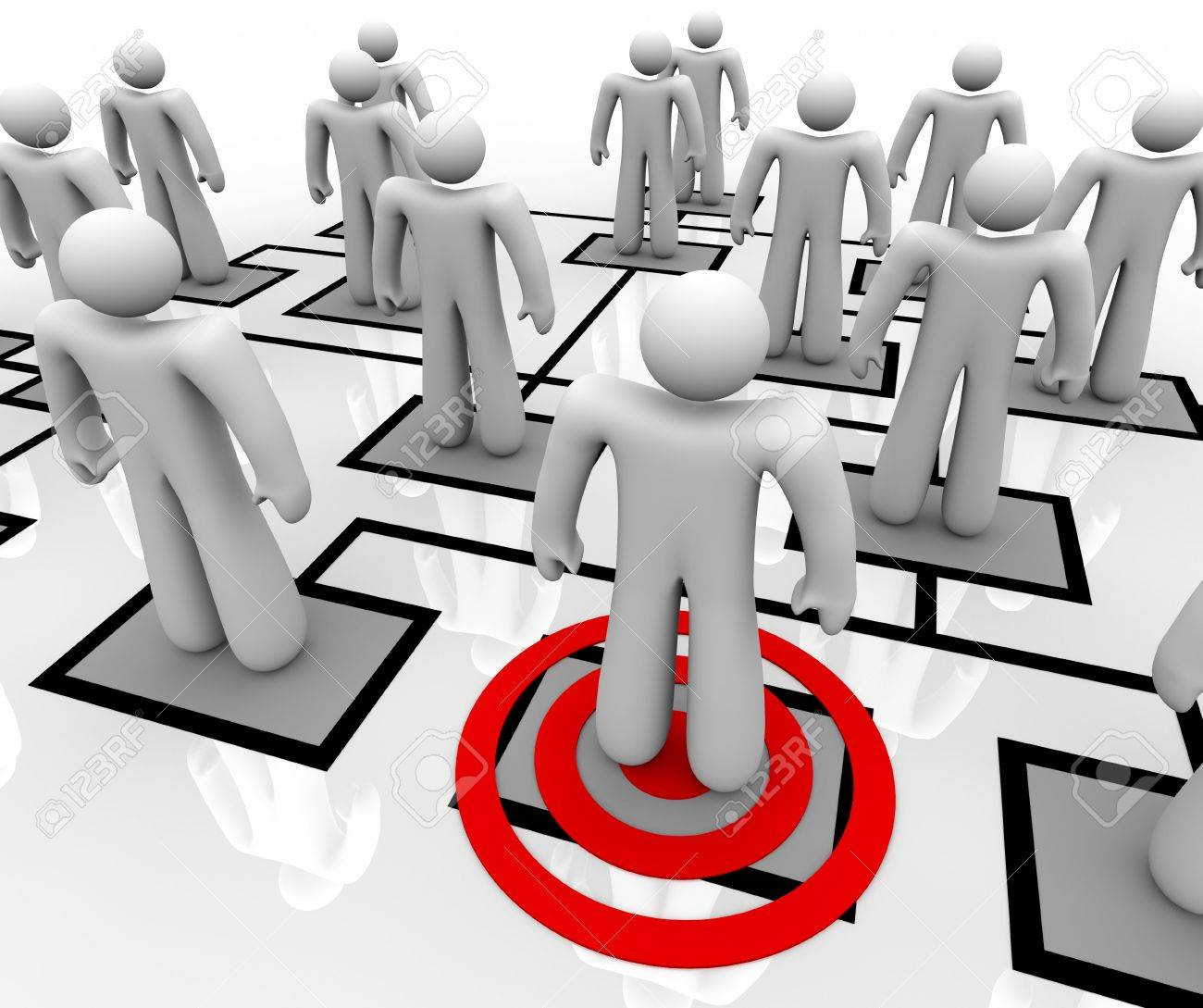 A red target centers on one employee in an organizational chart Stock Photo - 7495817