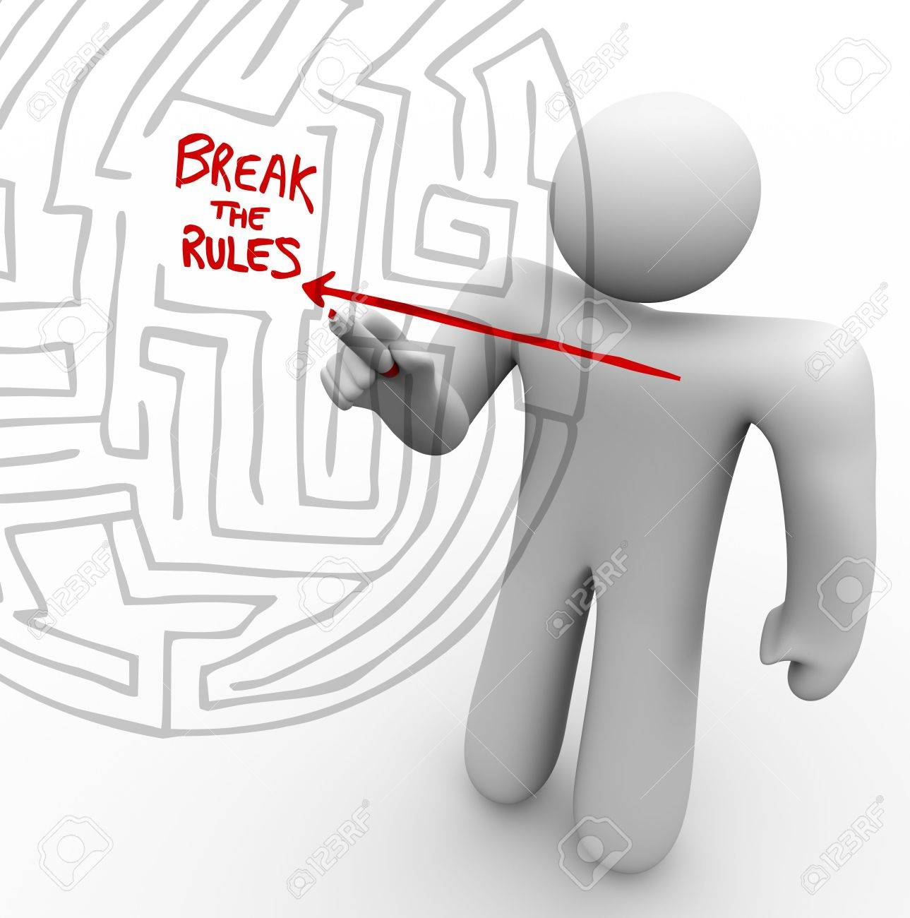 A person draws an arrow straight through a maze to the words Break the Rules Stock Photo - 7608578