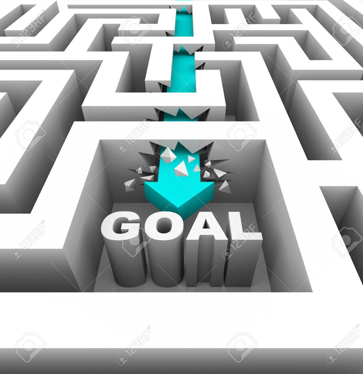 A arrow breaks through walls in a maze to reach a goal Stock Photo - 7608579