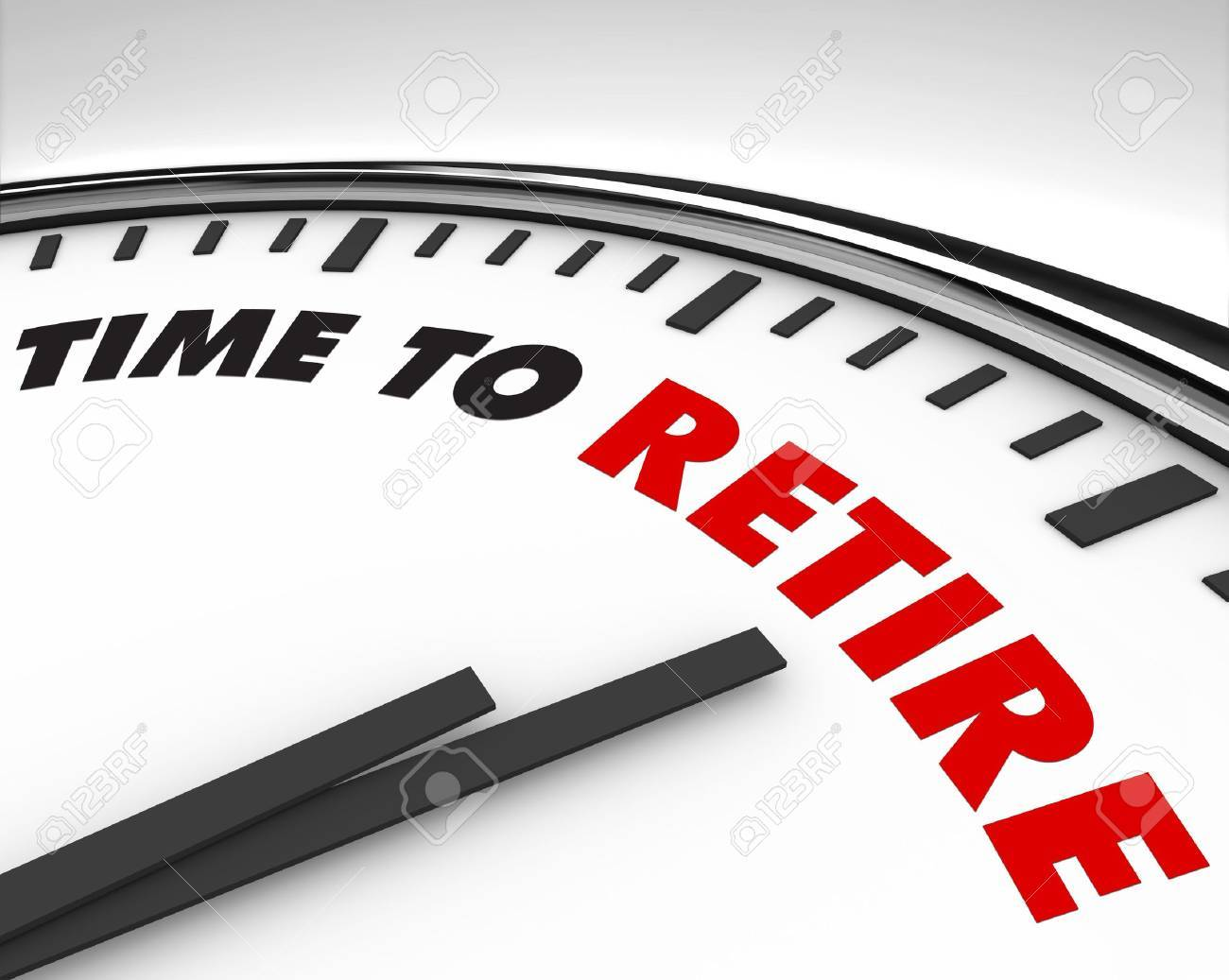 White clock with words Time to Retire on its face Stock Photo - 7963435