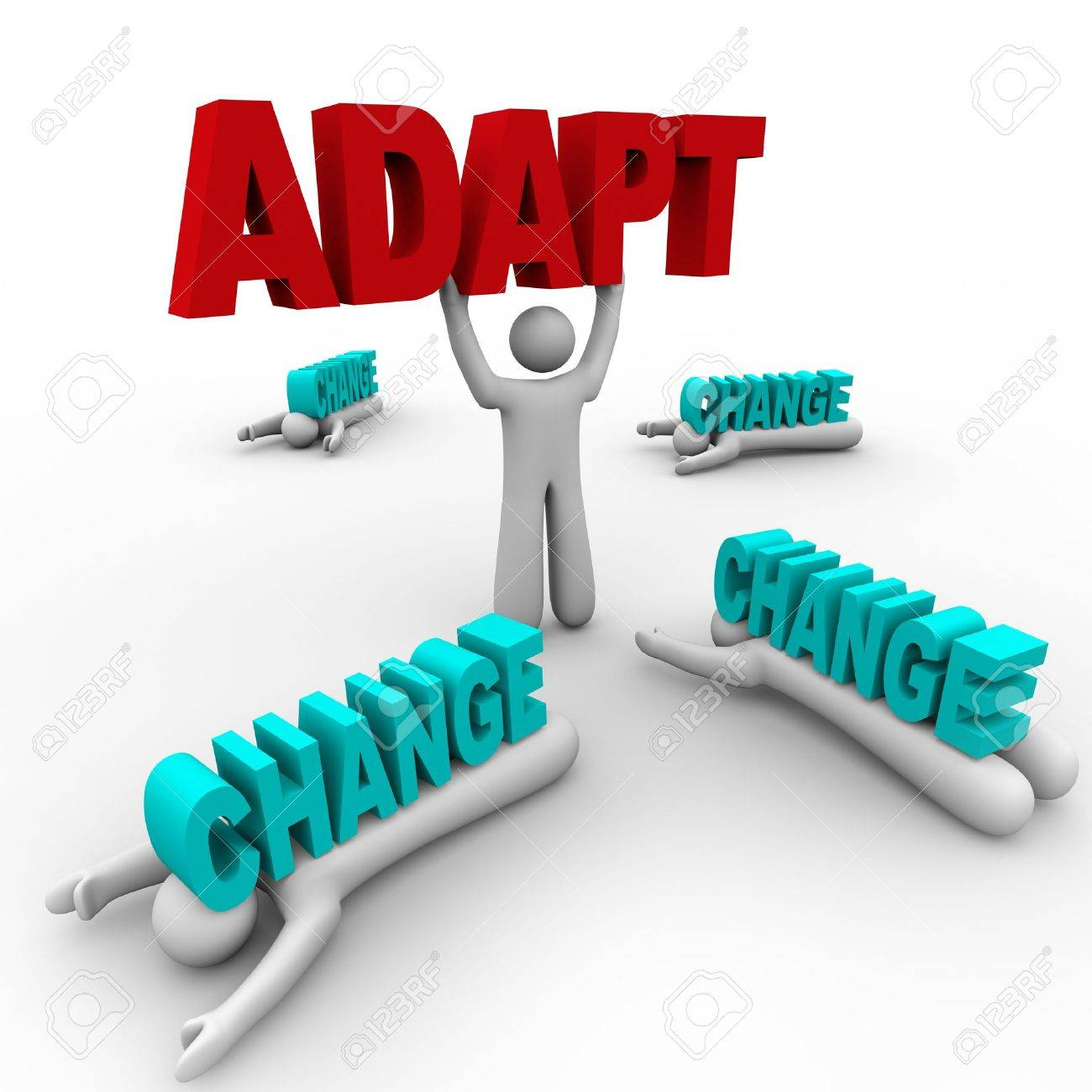 one person stands holding the word adapt, having embraced changeone person stands holding the word adapt, having embraced change, while others did not