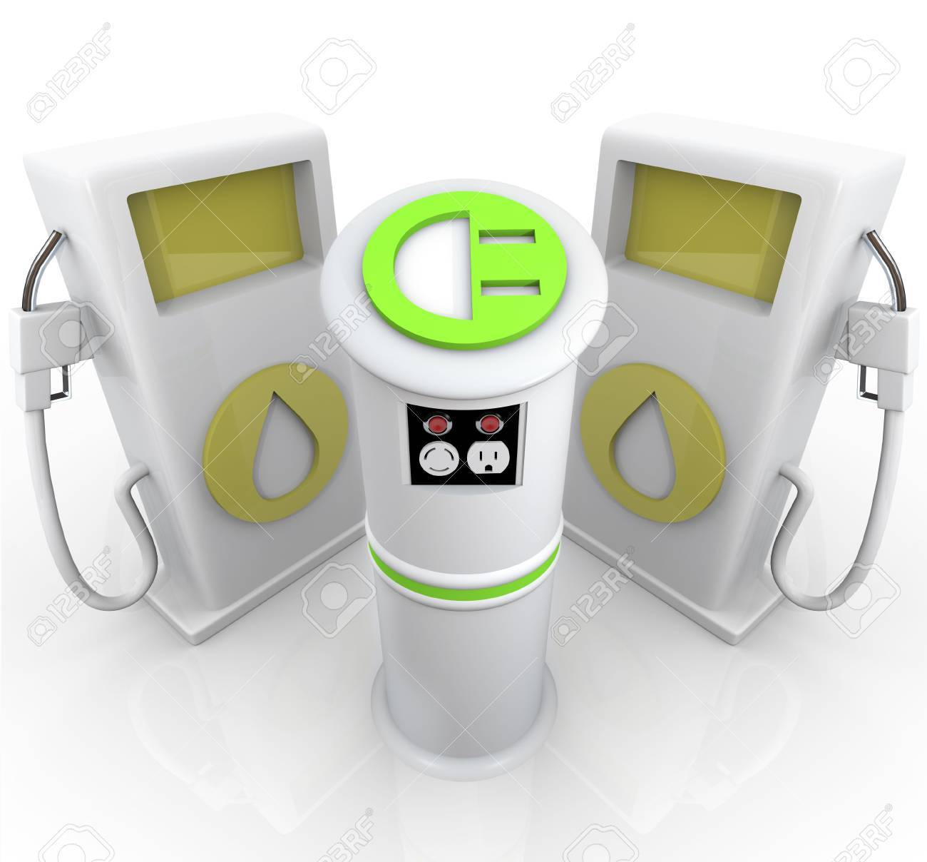 One EV electric vehicle plug-in station stands before two traditional gasoline pumps Stock Photo - 8052480