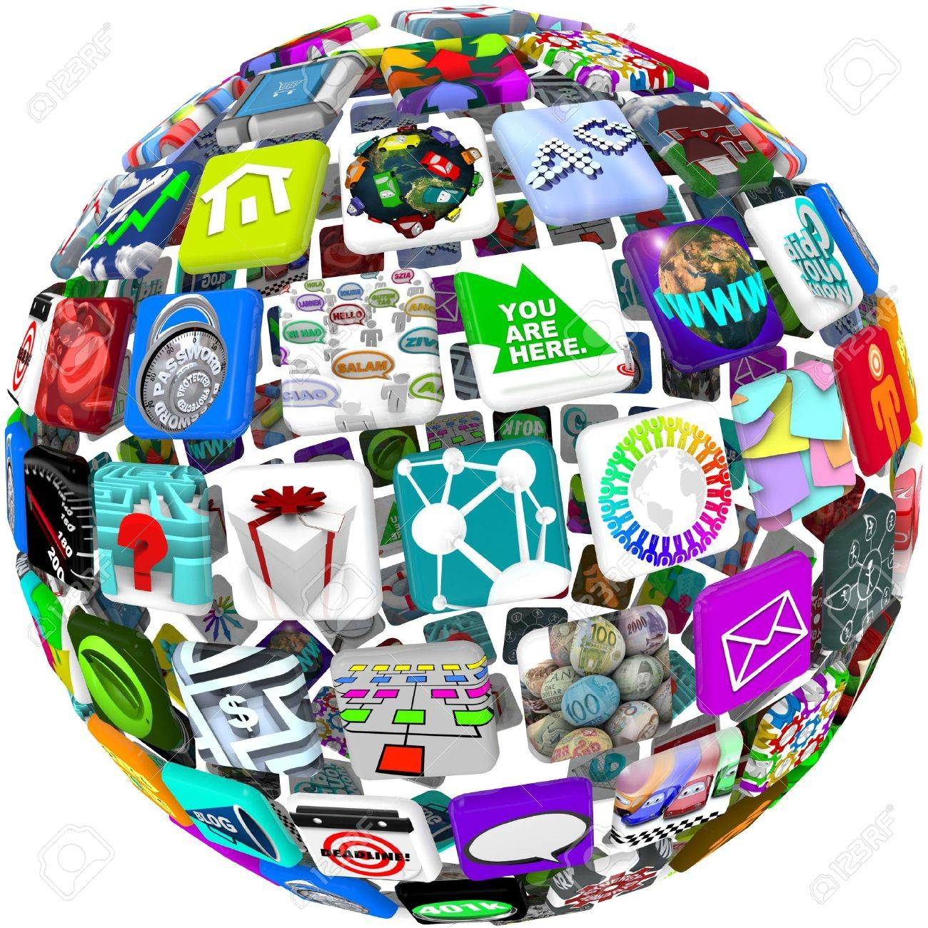 Many smart phone application icons arranged in a spherical shape Stock Photo - 8078205
