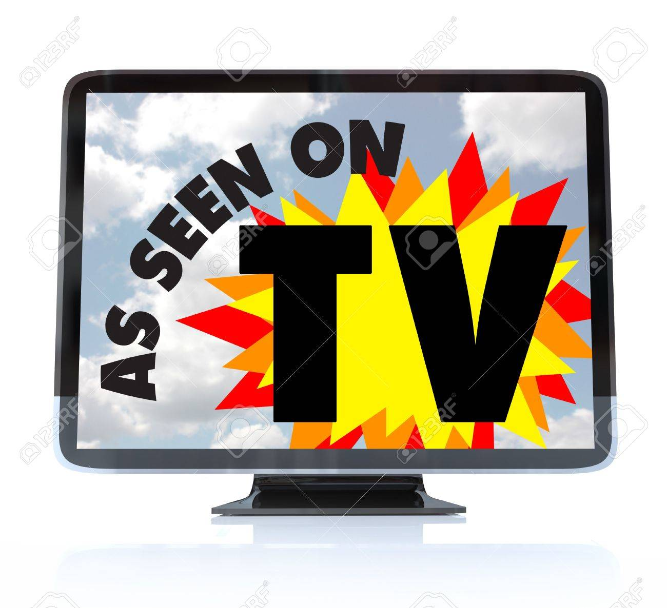 A HDTV television with the words As Seen on TV on the screen Stock Photo - 8195398