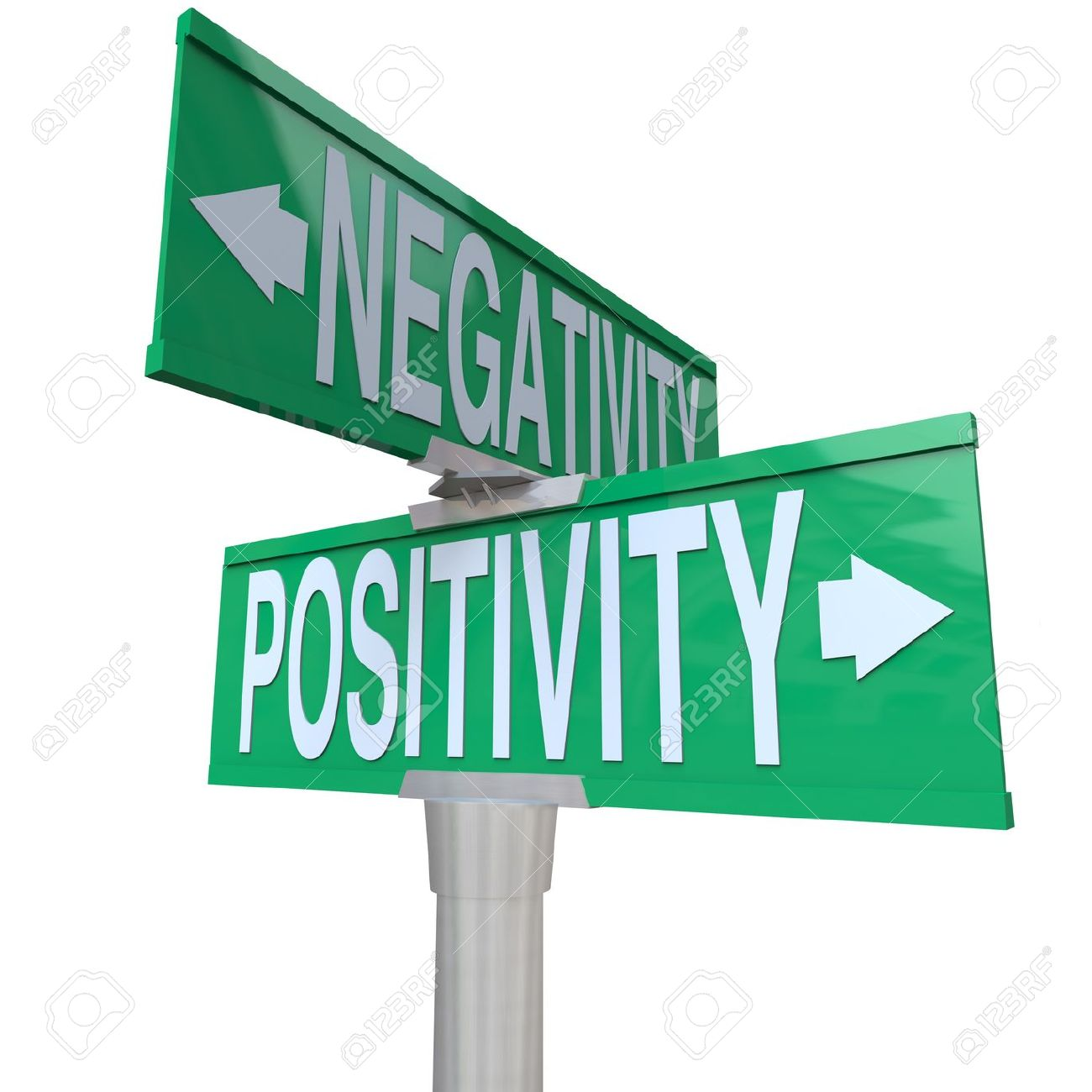 A green two-way street sign pointing to Positivity vs Negativity Stock Photo - 8370903