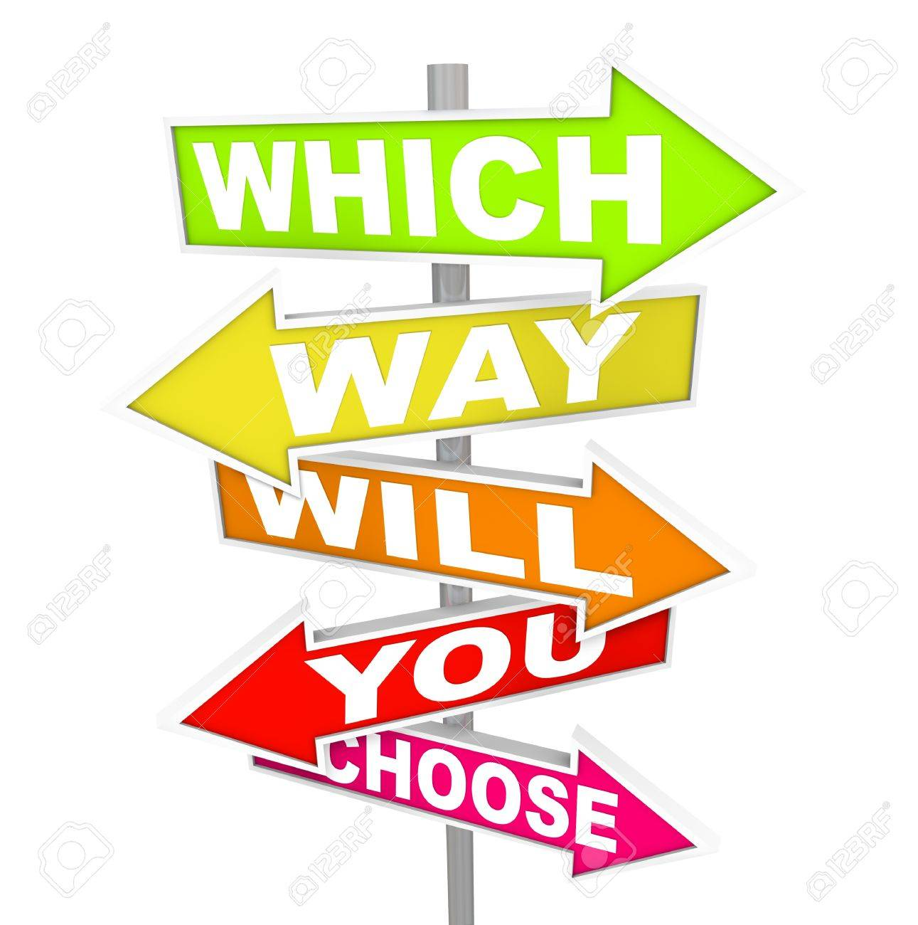 Several colorful arrow street signs with the question - which way will you choose? Stock Photo - 8370905