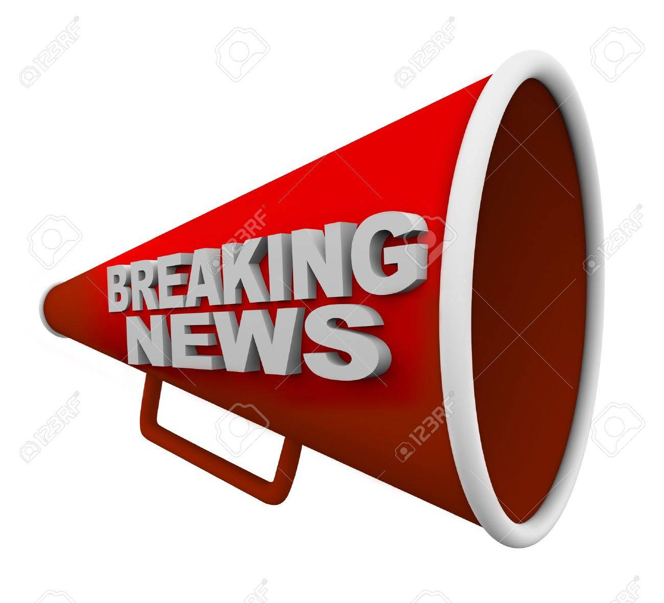A Red Bullhorn With The Words Breaking News On It Stock Photo ...