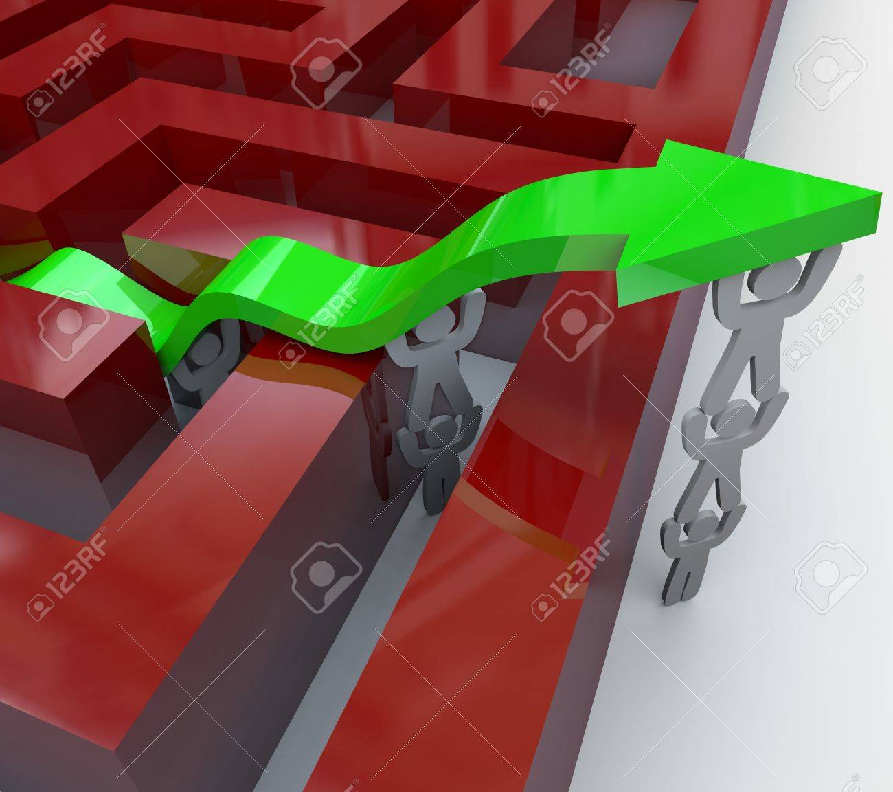 Several figures team up to push up a green arrow over the walls of a maze, symbolizing teamwork and growth Stock Photo - 8466564