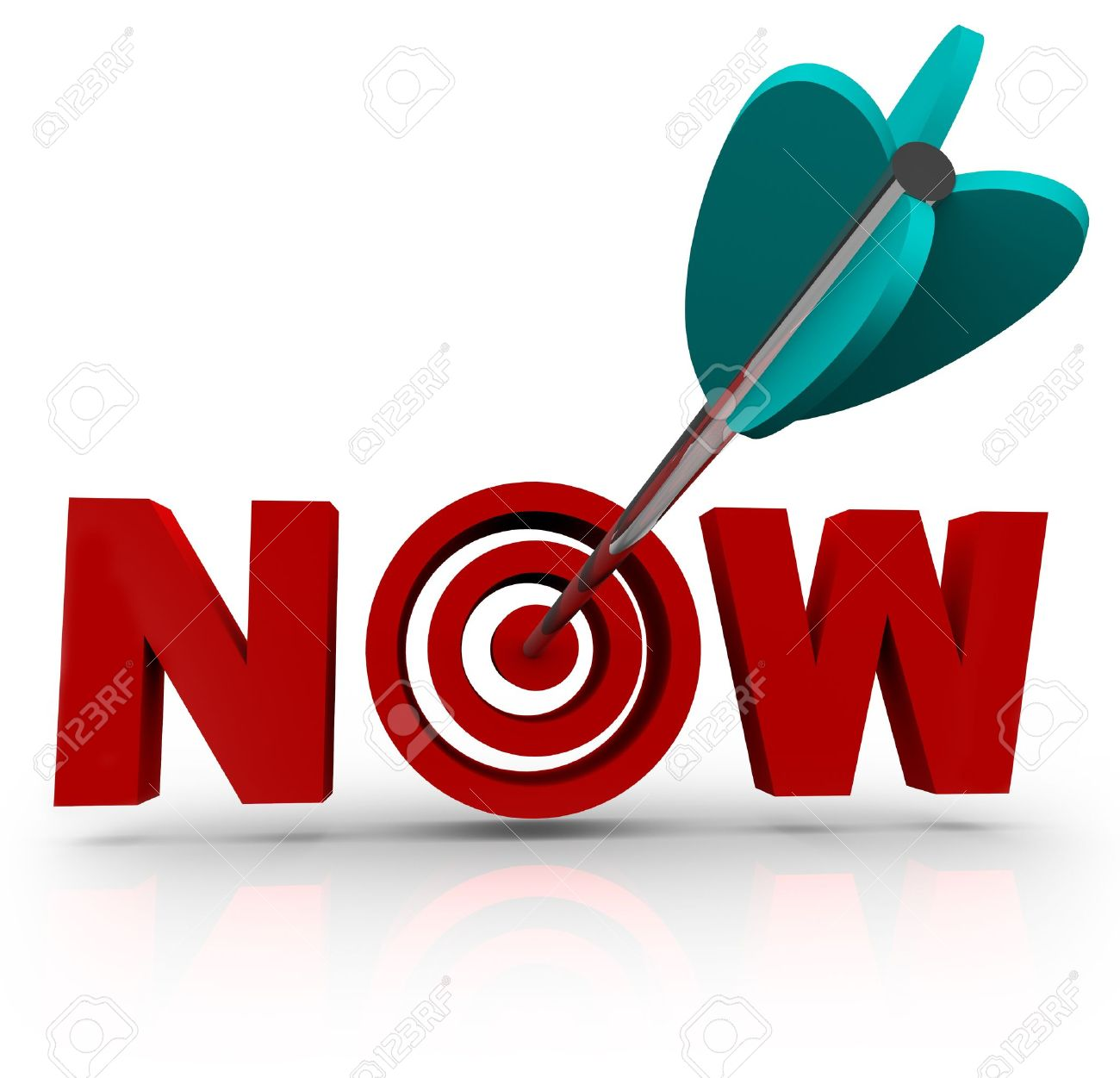 an arrow hits a bullseye in the word now symbolizing urgency stock