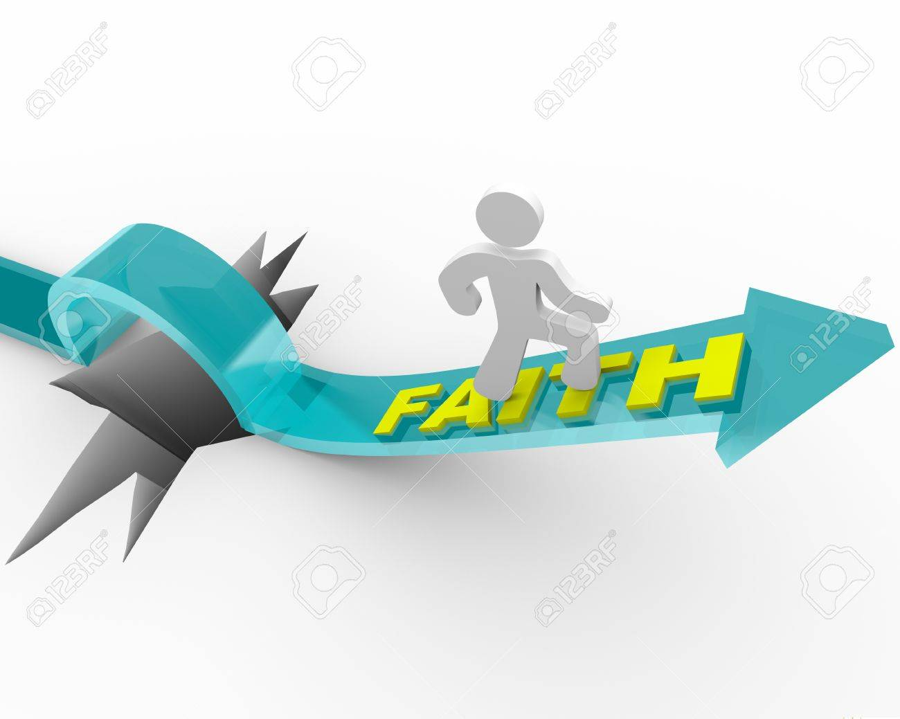 A man runs on an arrow marked Faith as it rises over a deep hole Stock Photo - 8499179