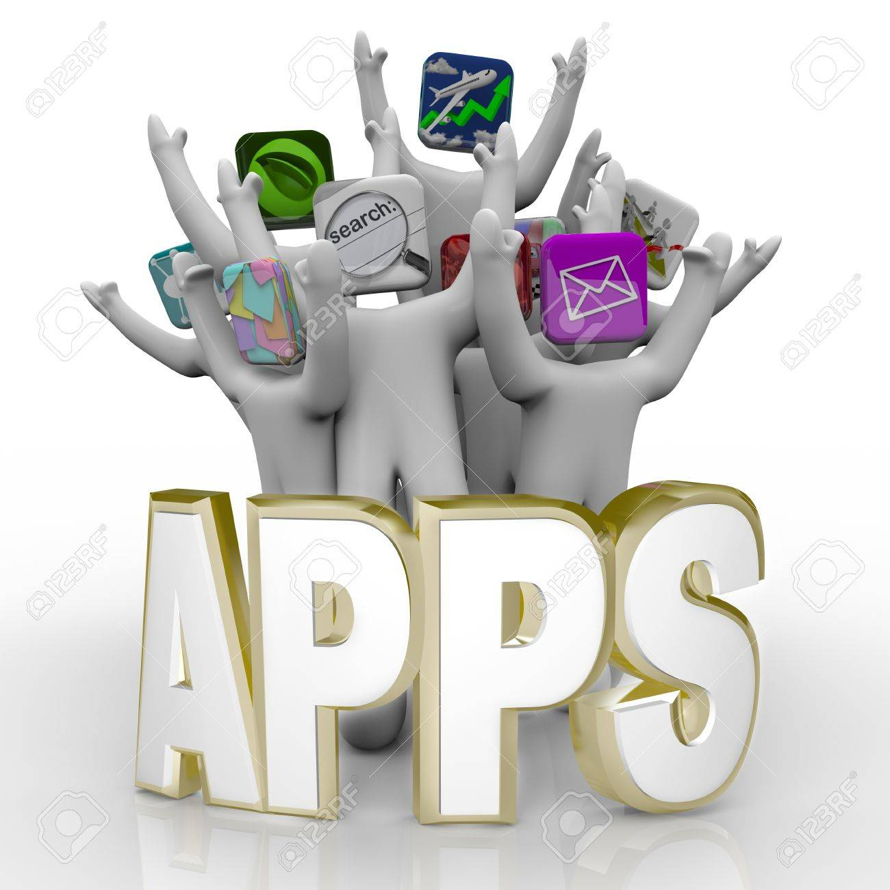 Several people with application icons as heads stand cheering behind the word Apps Stock Photo - 8610744