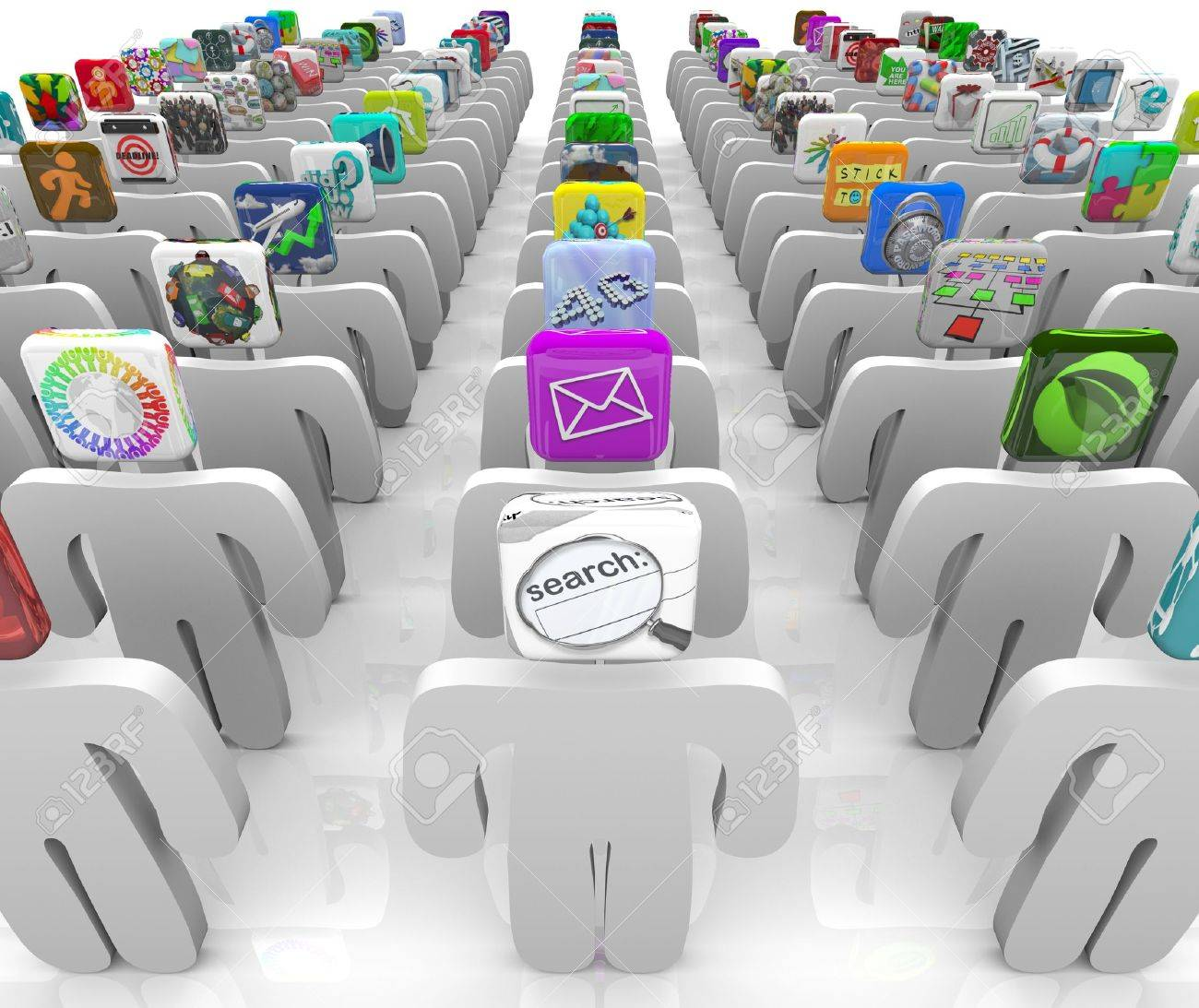 Many people with app tiles for heads stand in rows symbolizing the vast selection of the online software marketplace Stock Photo - 8646819