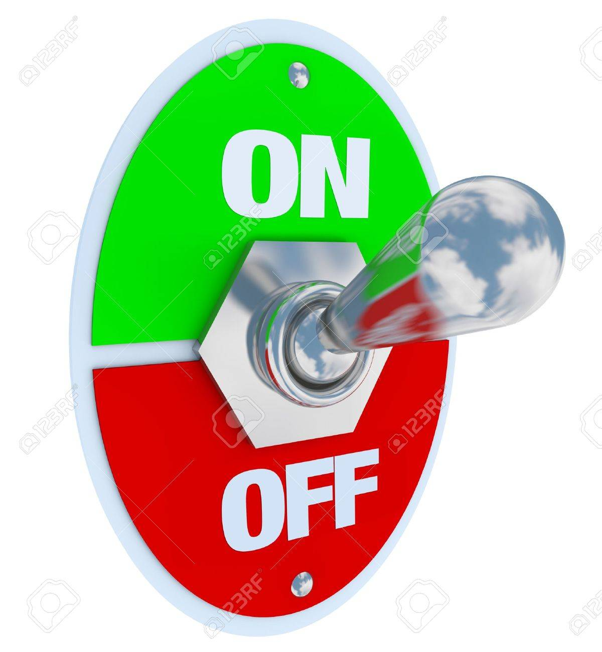 A metal toggle switch with plate reading On and Off, flipped in the On position Stock Photo - 8711474