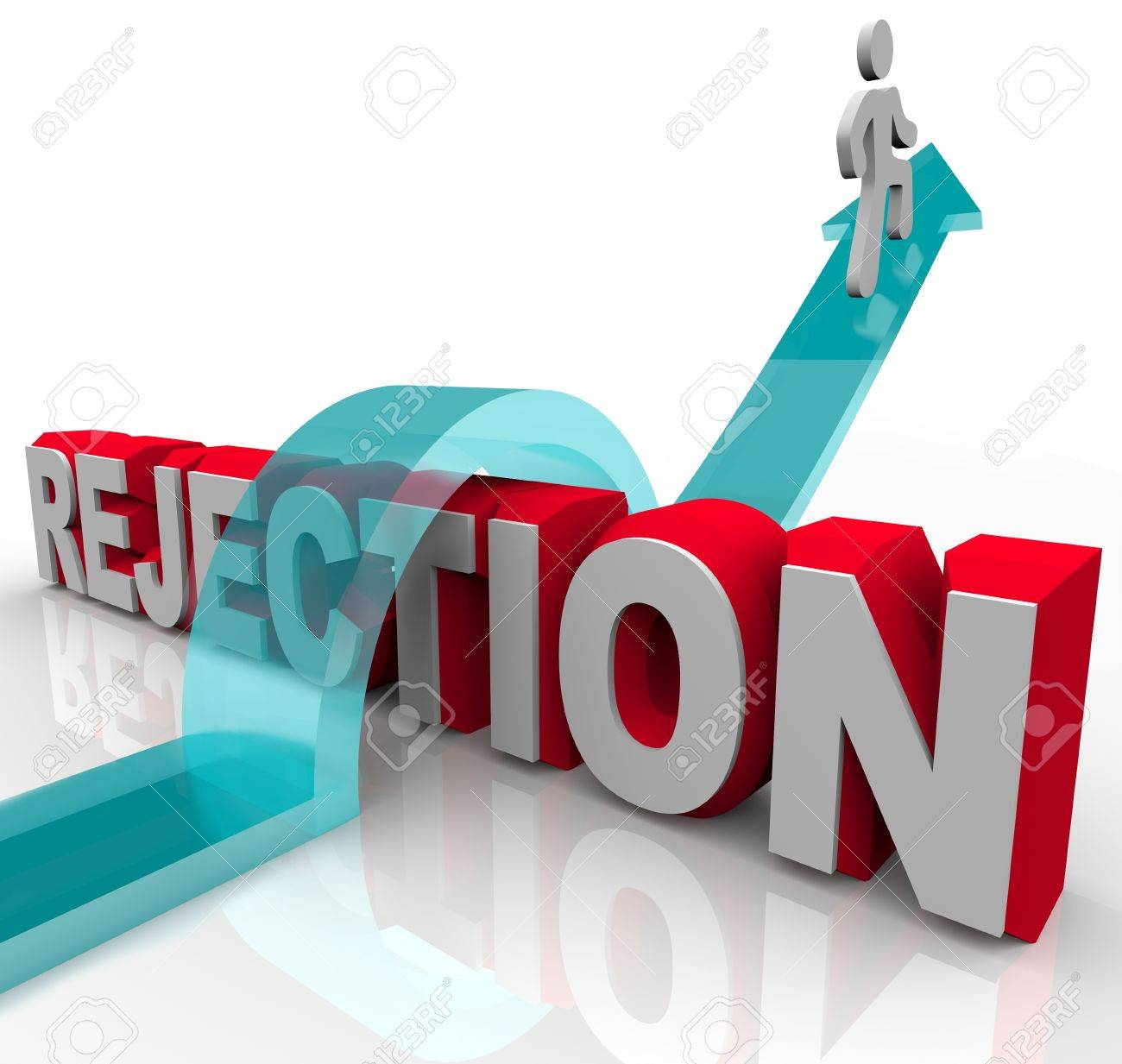 A person jumps over the word Rejection, riding an arrow to success Stock Photo - 8989826