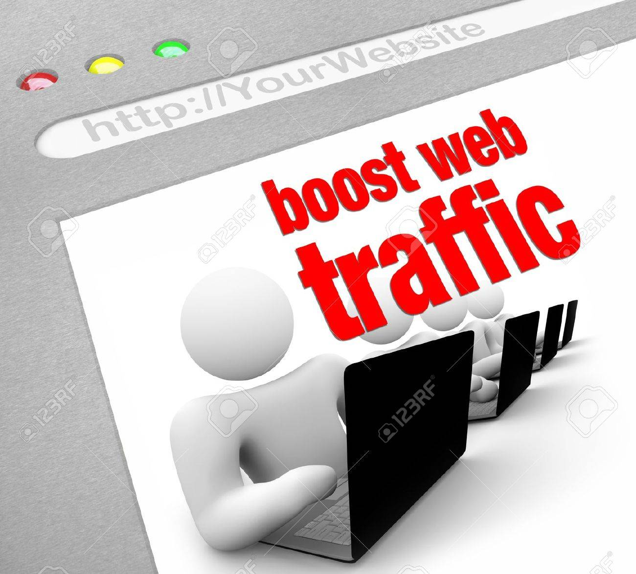 A web browser window shows the words Boost Web Traffic and several people working on laptop computers Stock Photo - 8989829