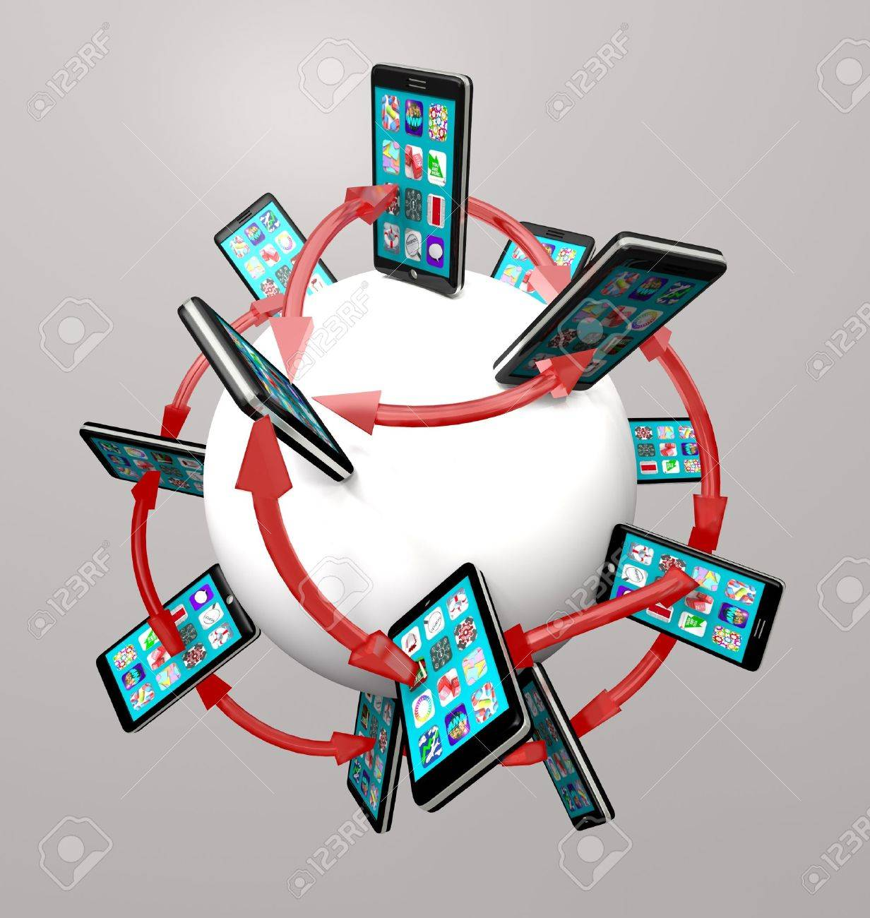 Many modern smart phones with apps on their touch screens around a global communication network, connected by arrows symbolizing networking Stock Photo - 9036836