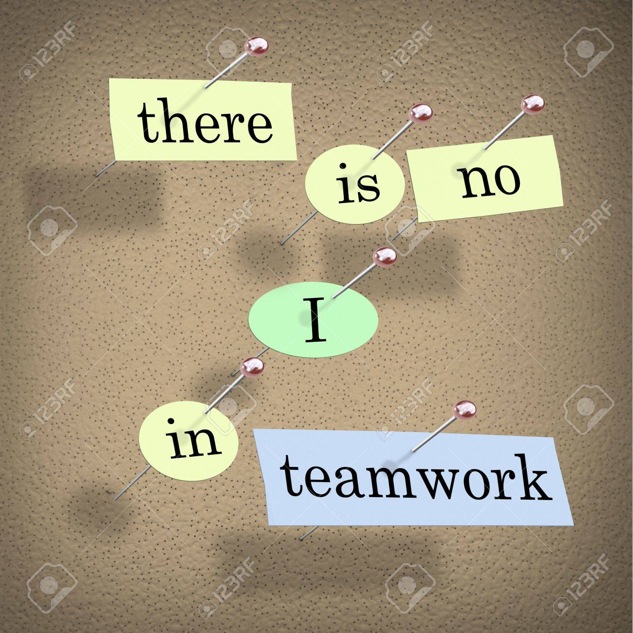 Pieces of paper each containing a word pinned to a cork board reading There is No I in Teamwork Stock Photo - 9107917