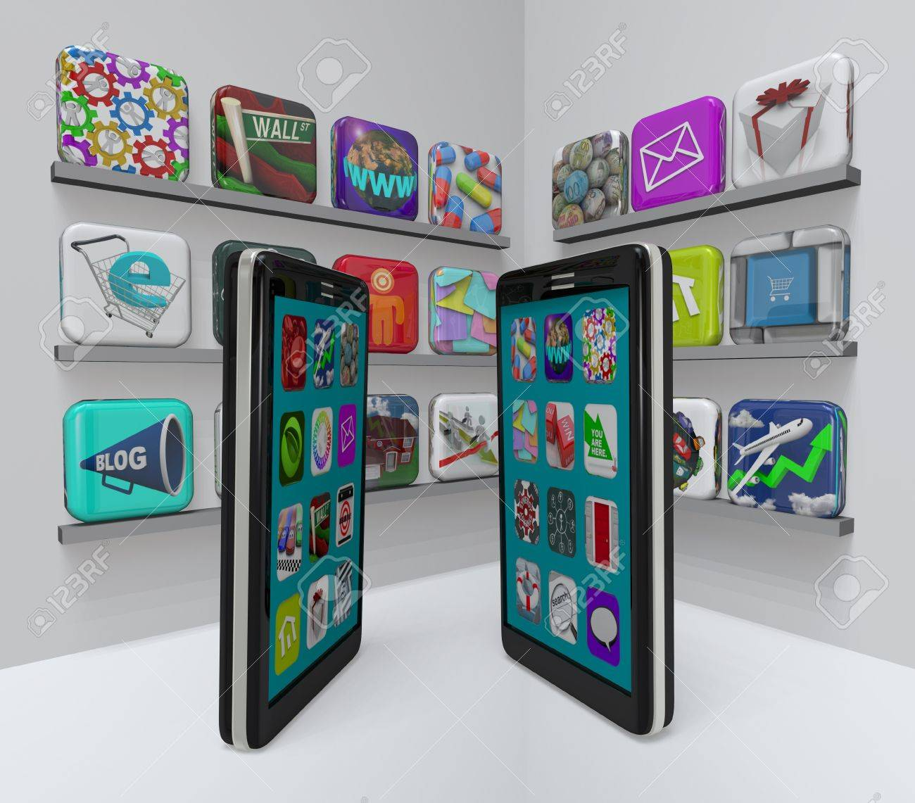 Two smart phones stand in an app store, perusing the marketplace for new apps to download Stock Photo - 9107920