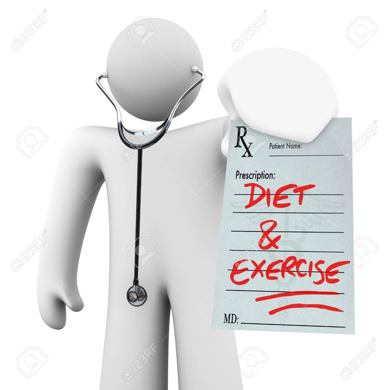 A doctor holds a prescription with the words Diet and Exercise written on it, symbolizing preventative living and a healthy lifestyle Stock Photo - 9134145