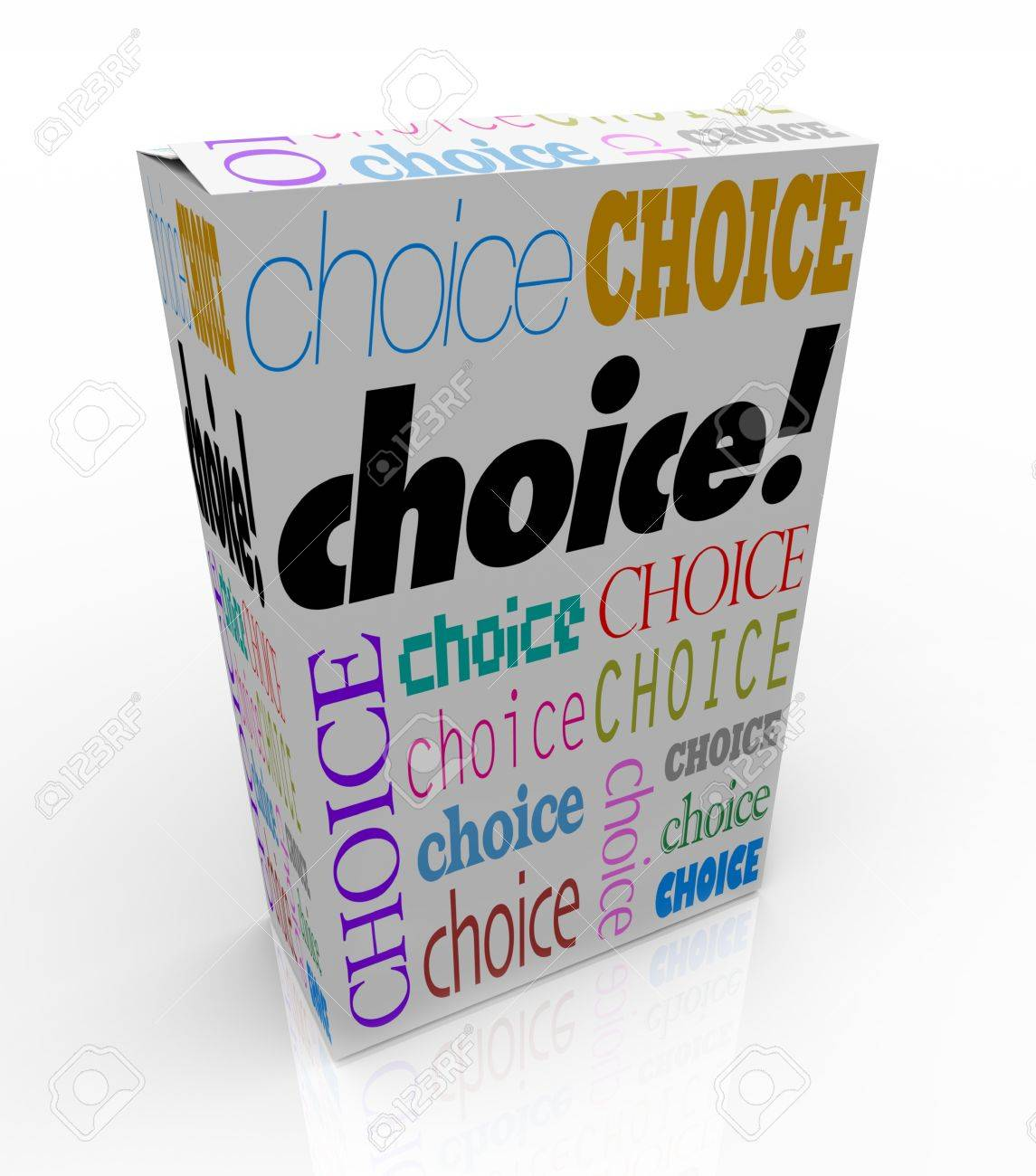 A product box with with the word Choice calling attention to it, symbolizing the freedom to choose your preference Stock Photo - 9163150