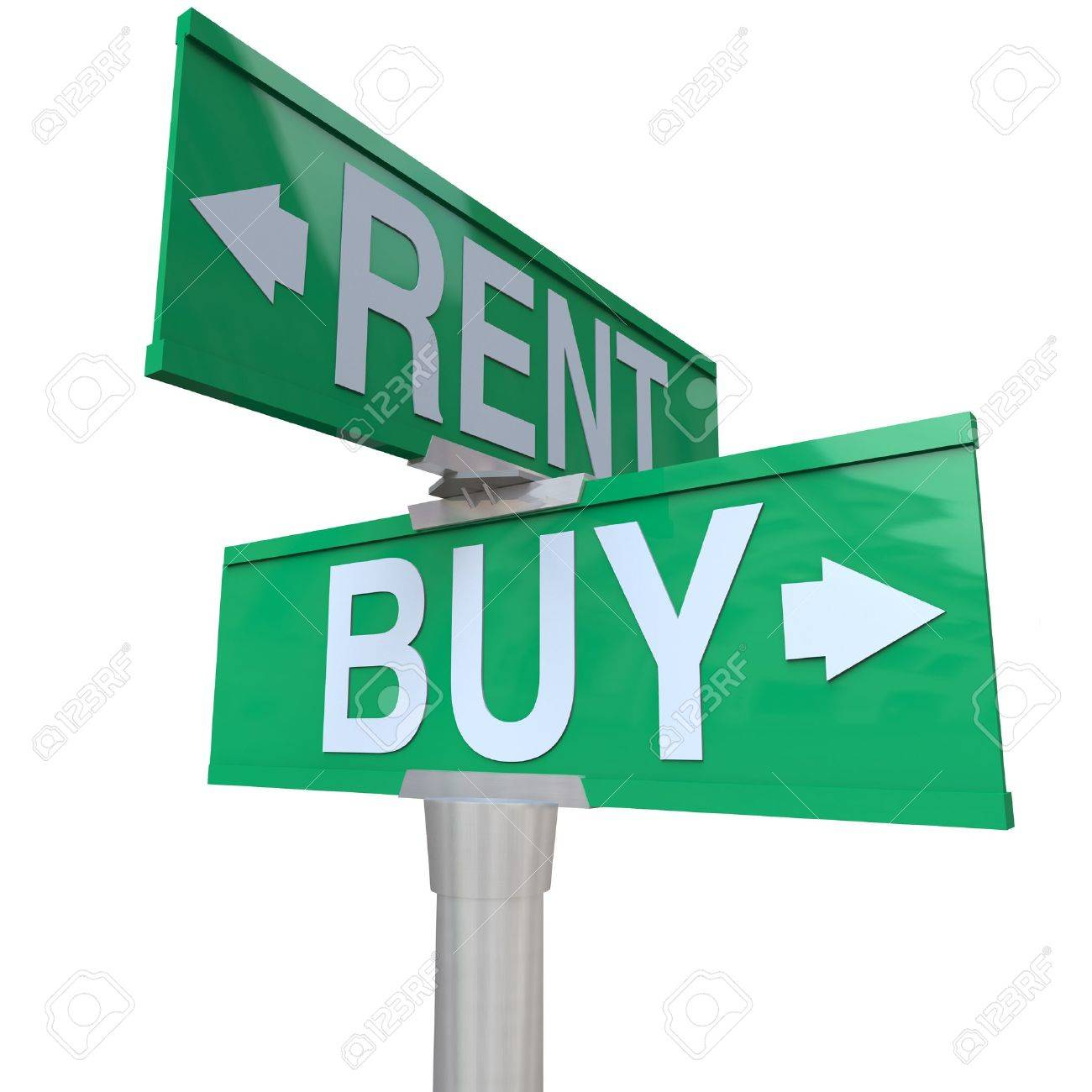 A green two-way street sign pointing to Buy and Rent, symbolizing being at a crossroads and deciding between renting a house, car or other object versus the benefits of buying Stock Photo - 9209549