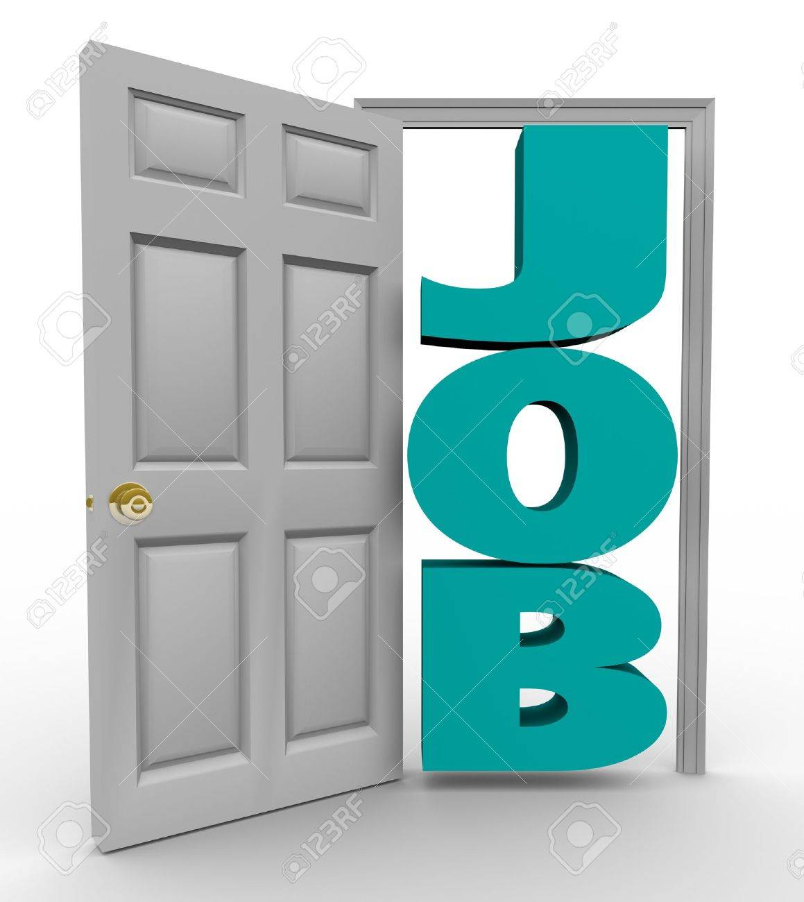 a doorway opens to reveal the word job representing a successful a doorway opens to reveal the word job representing a successful search for employment and