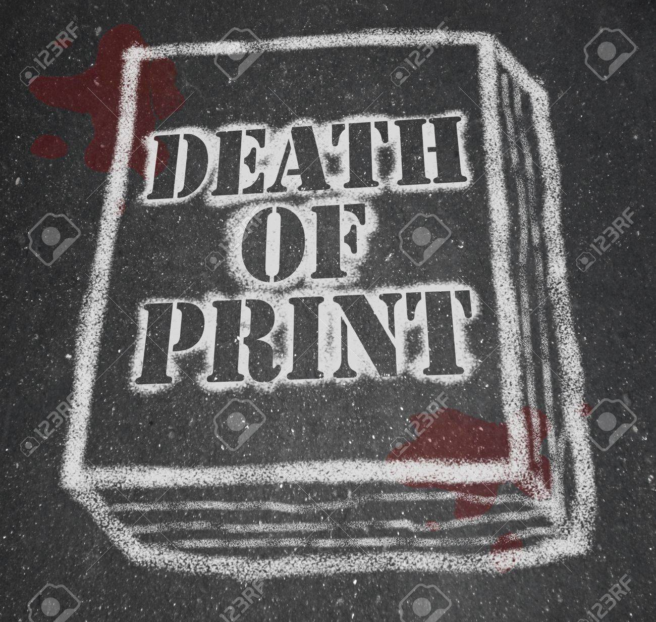 A chalk outline of a book symbolizing the death of the print industry due to the rise of new technologies like e-books and e-readers Stock Photo - 9357755