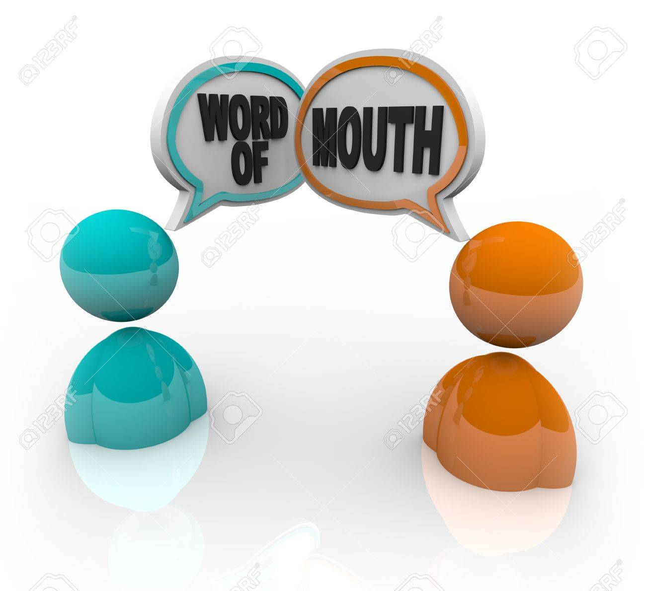 Two people with speech bubbles and the words Word of Mouth, symbolizing the spreading of rumor and gossip Stock Photo - 9357753