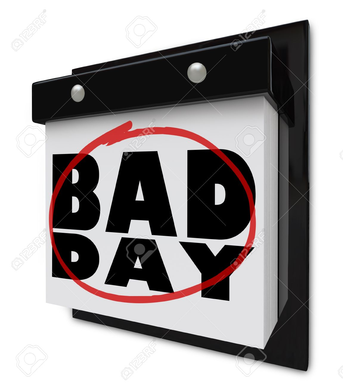 A wall calendar with tear-away pages, and words Bad Day, symbolizing a date that is dreaded, such as a due date for bills or taxes, or a day filled with disappointment Stock Photo - 9413744