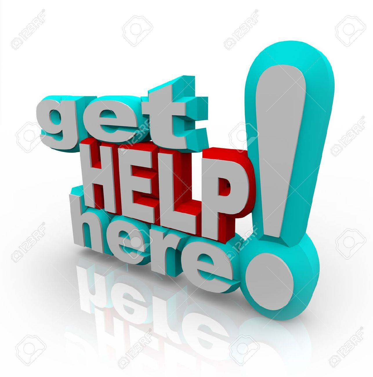 The words Get Help Here symbolizing the need to offer support and answers to customers asking questions or looking for a helping hand Stock Photo - 9428967