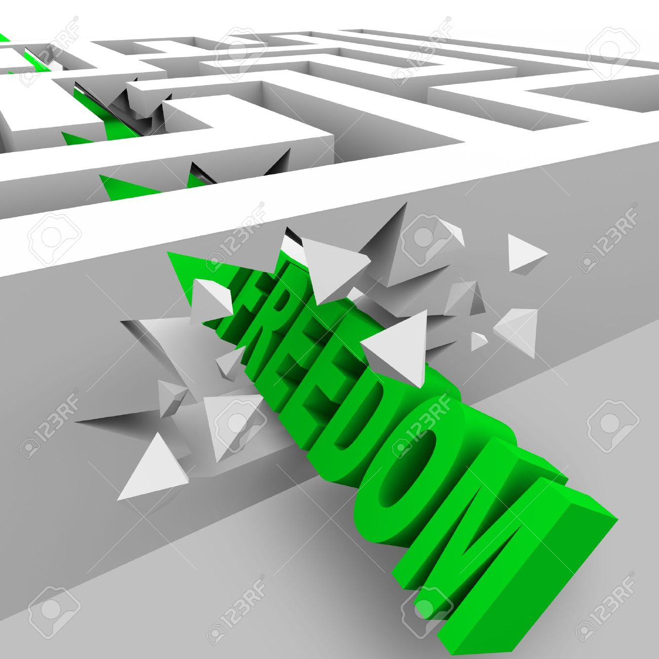 A green word Freedom crashes through the walls of a maze to break through the barriers of oppression Stock Photo - 9448032