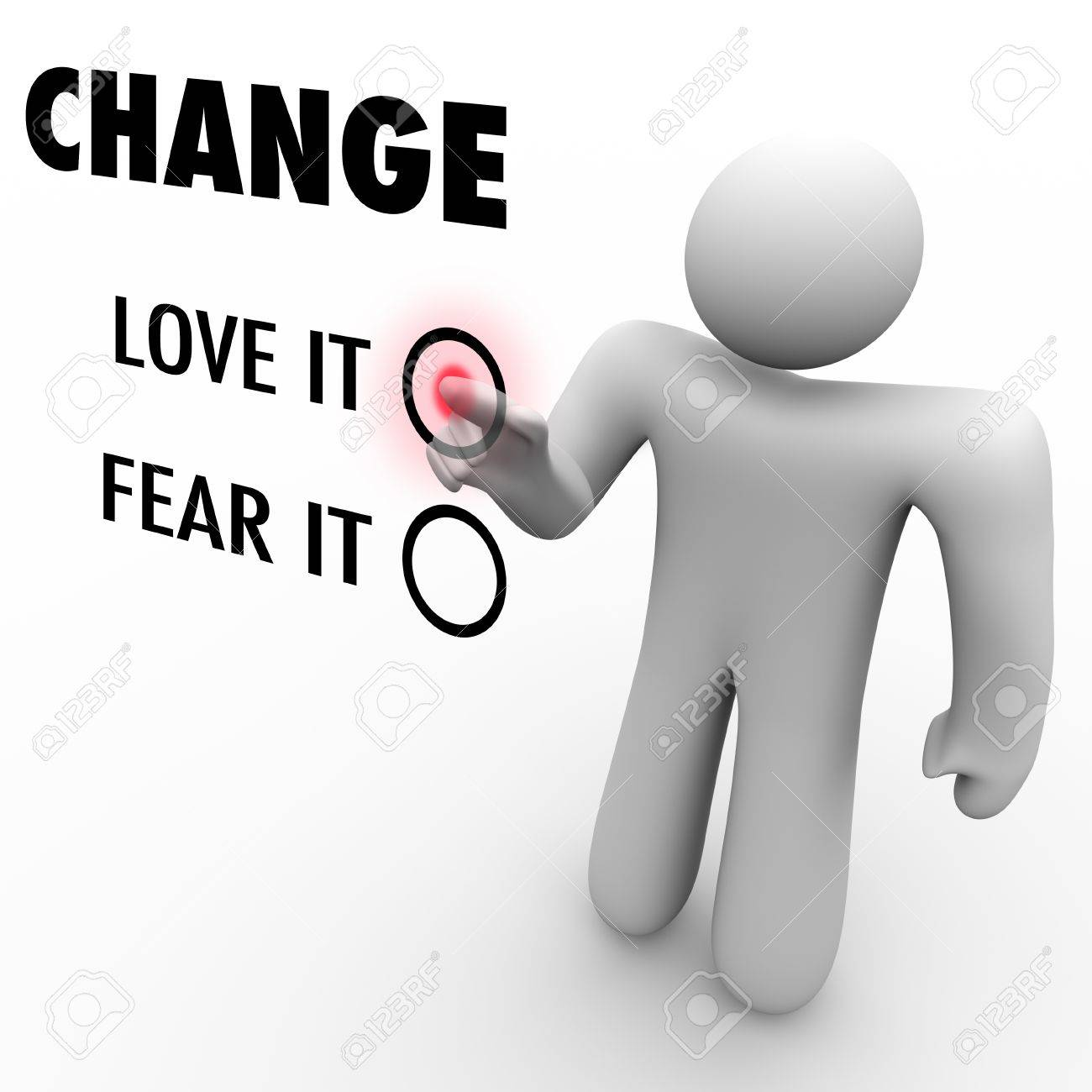 A man presses a button beside the word Change when asked to choose between loving or fearing change Stock Photo - 9514988